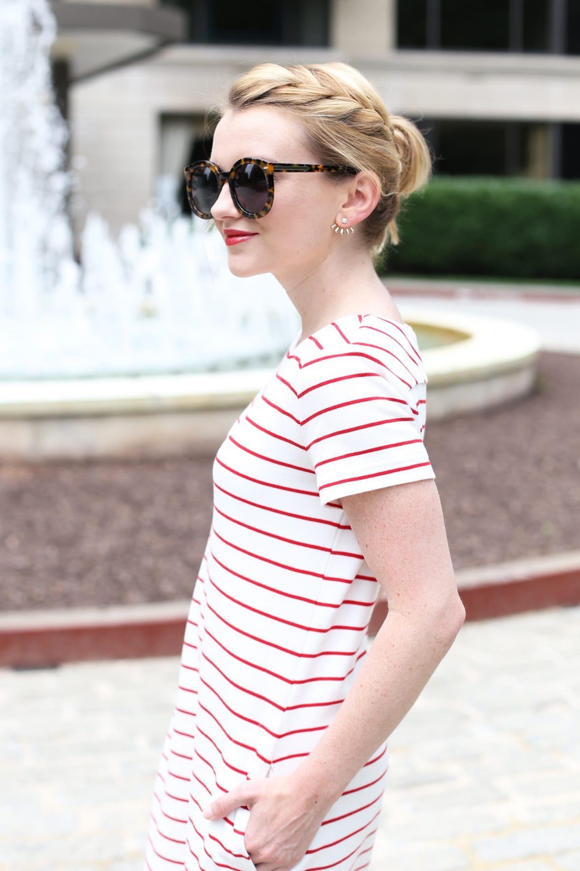 Red Striped T-shirt Dress at Poor Little It Girl - via @poorlilitgirl