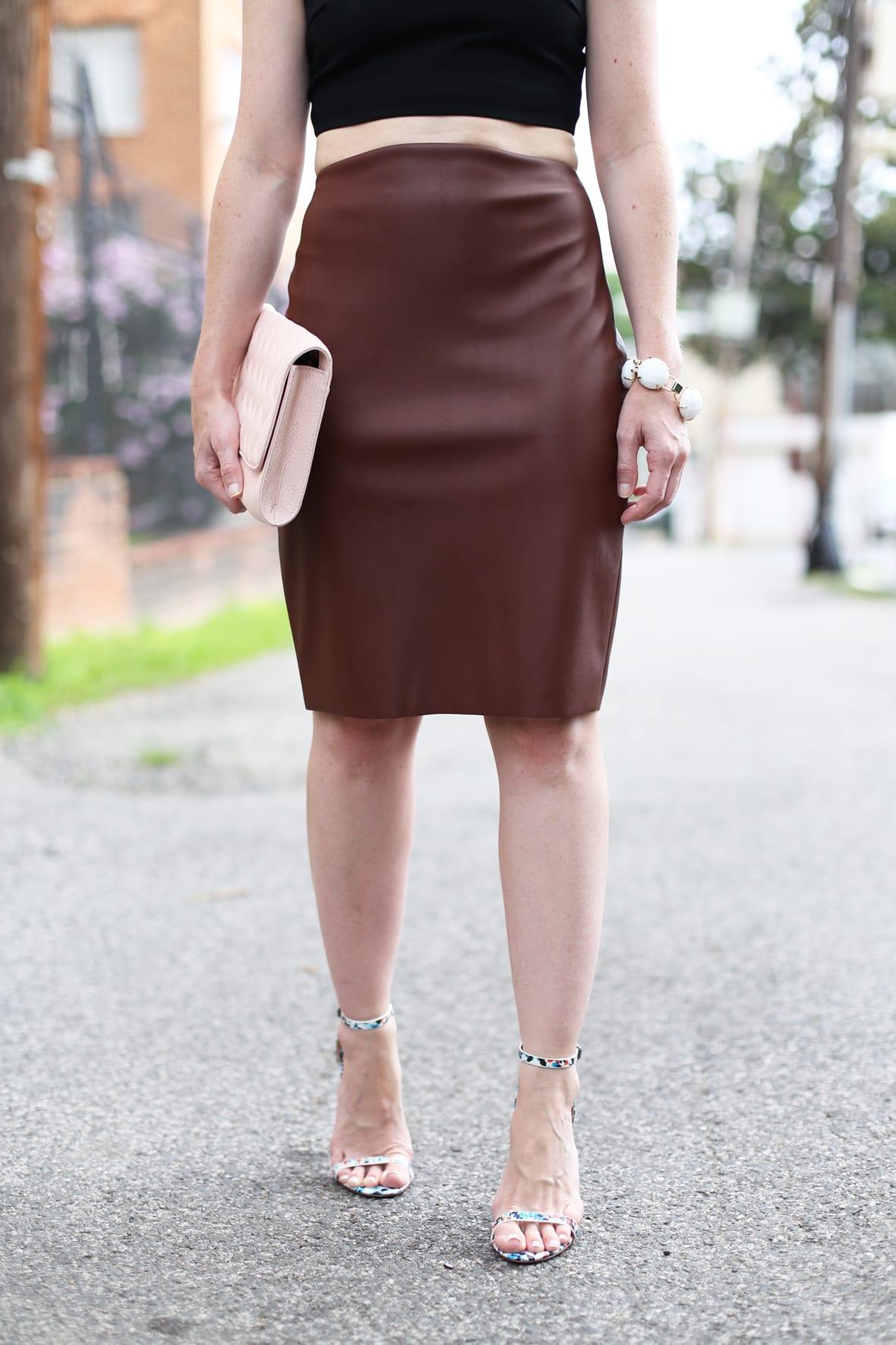 Black Crop Top and Faux Leather Pencil Skirt on Poor Little It Girl - via @poorlilitgirl