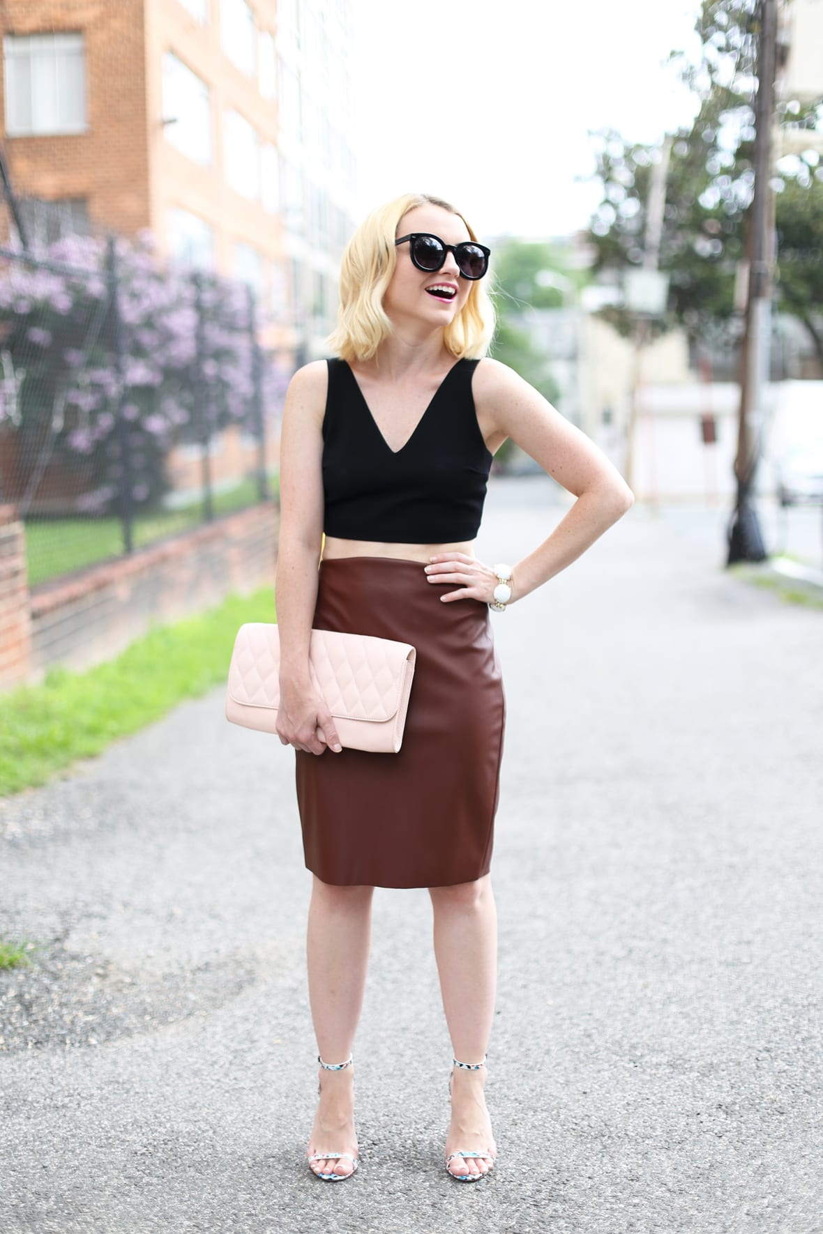Black Crop Top and Faux Leather Pencil Skirt on Poor Little It Girl - via @poorlilitgirl
