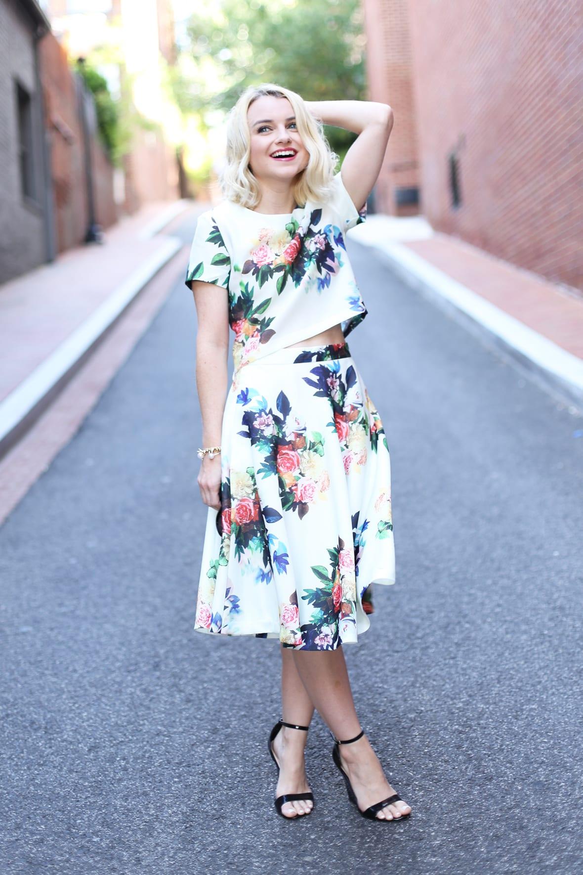 Poor Little It Girl - Floral Crop Top and Skirt Set - @poorlilitgirl