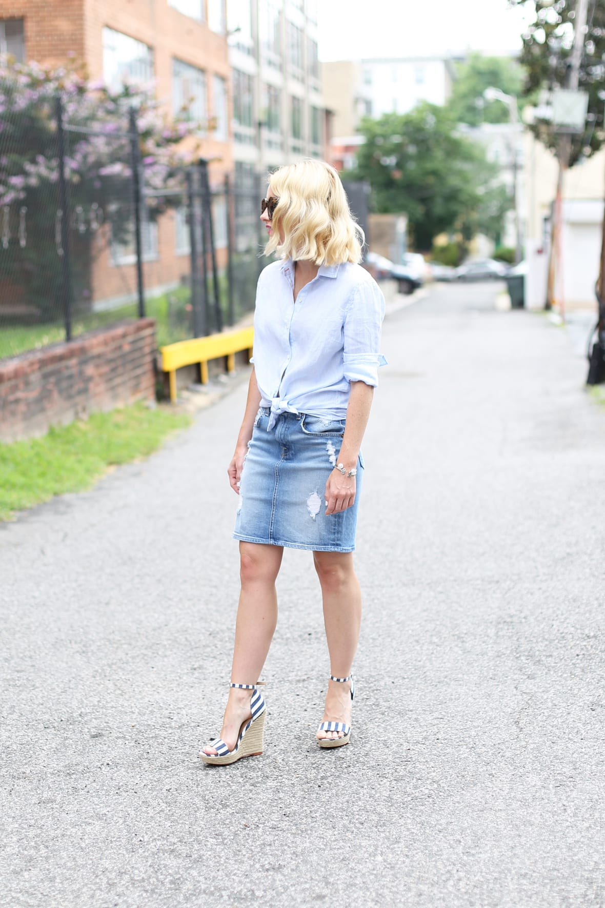 Poor Little It Girl Distressed Denim Skirt - via @poorlilitgirl