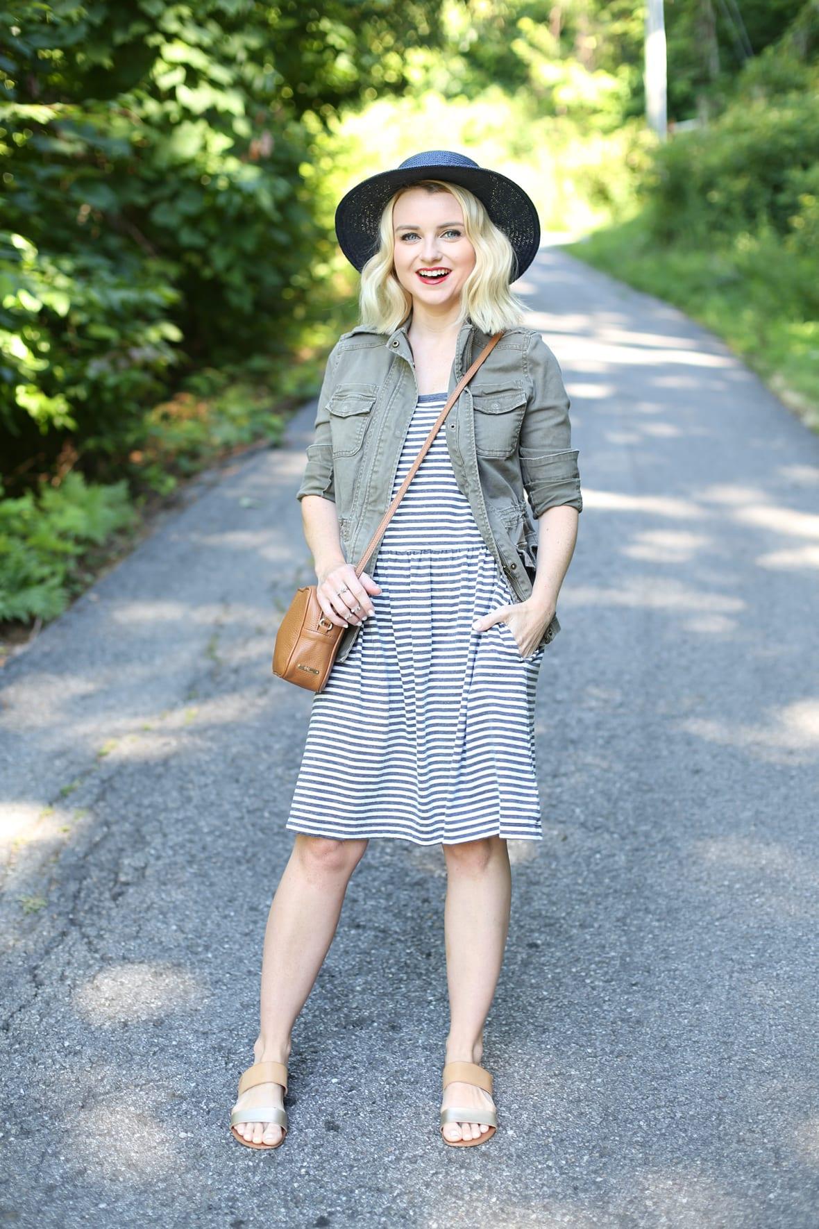 Striped Cami Dress and Cargo Jacket in North Carolina - Poor Little It Girl - @poorlilitgirl