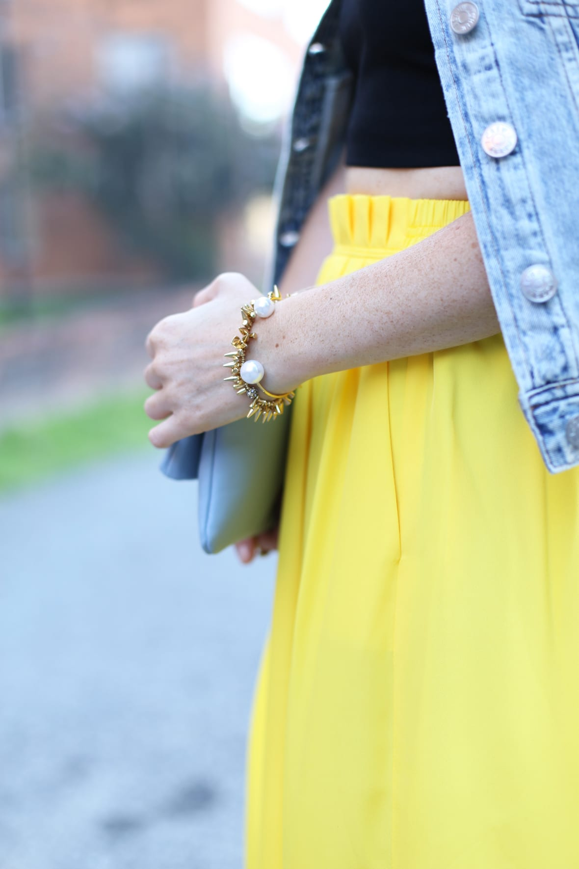 Yellow Midi Skirt and Denim Jacket on Poor Little It Girl -