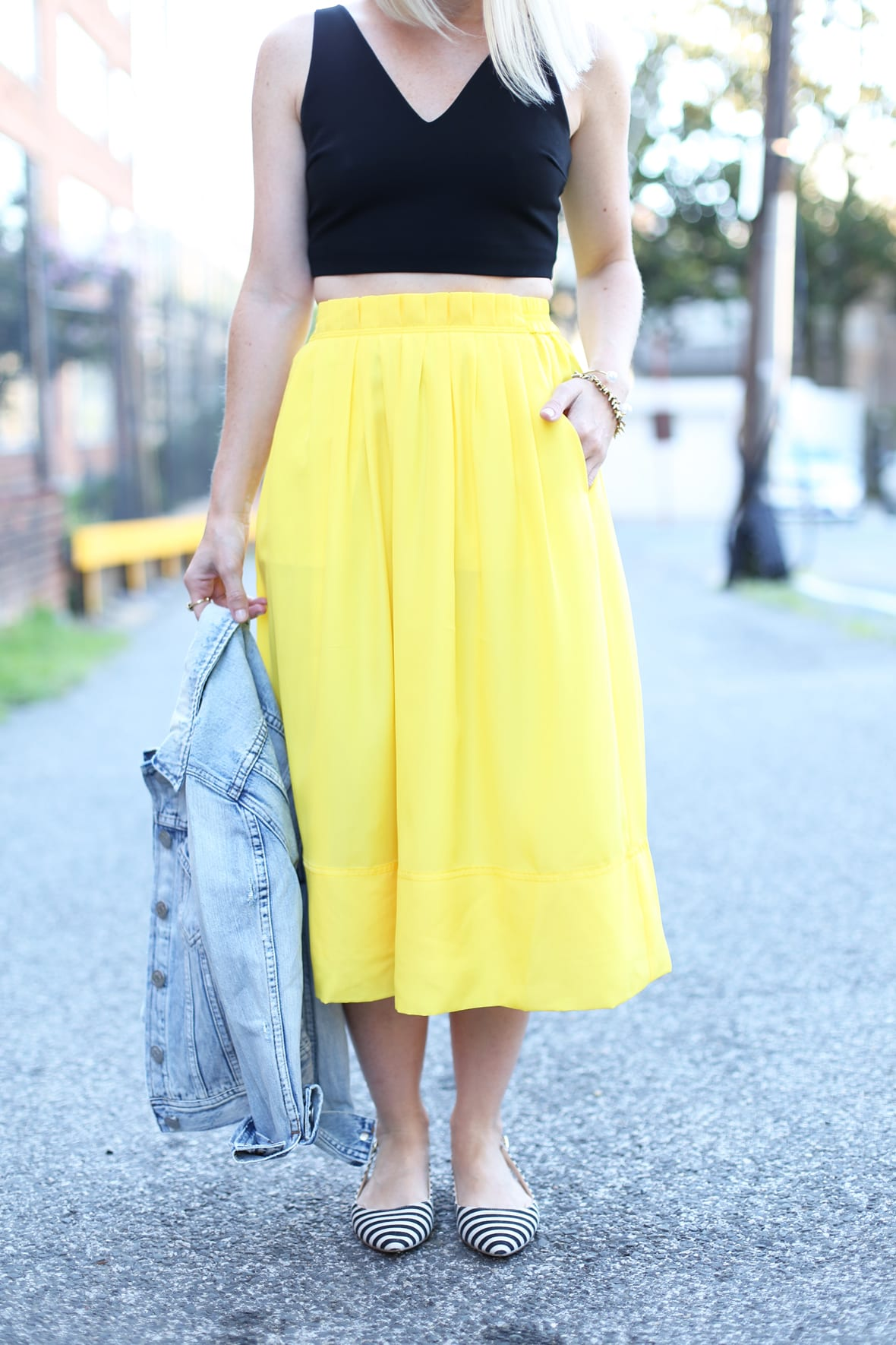 Yellow Midi Skirt and Denim Jacket on Poor Little It Girl - via @poorlilitgirl