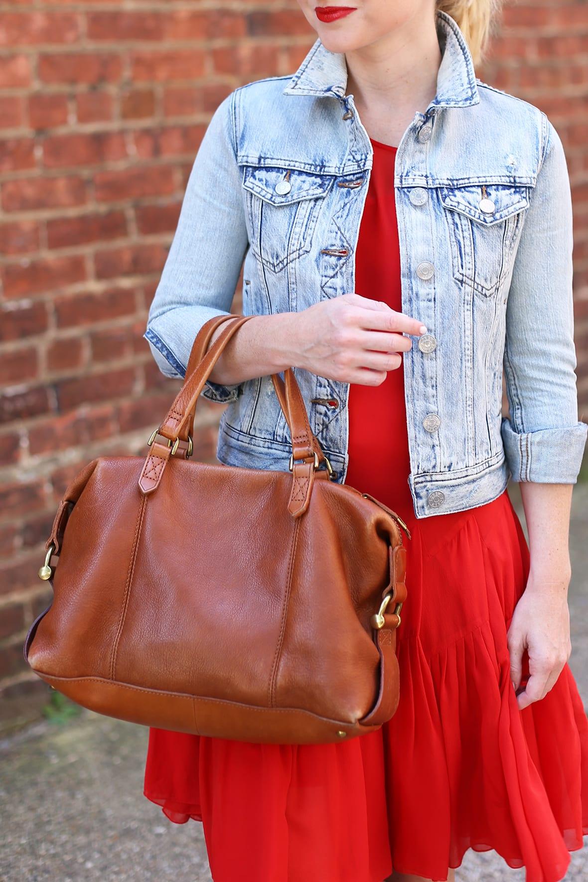 Red dress jean jacket back