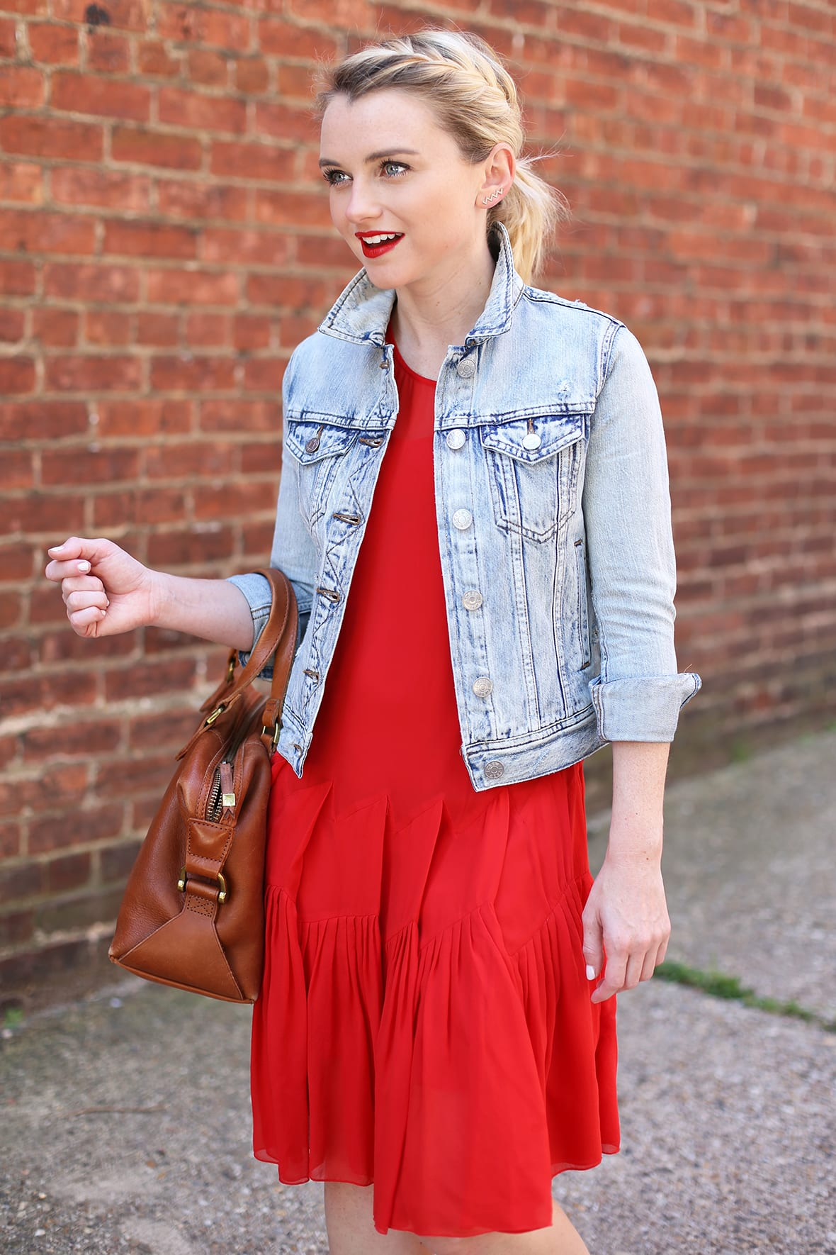 Red Dress And Denim Jacket For Summer - Poor Little It Girl