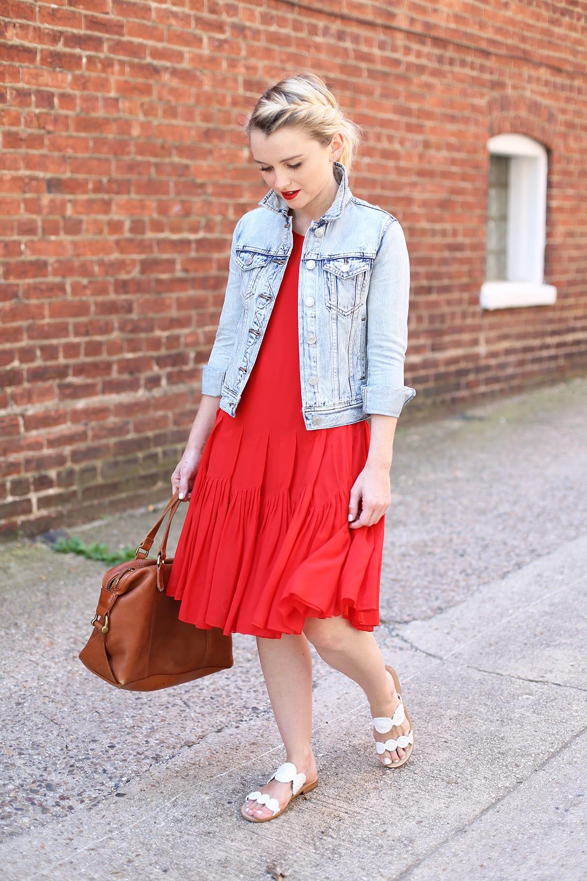 Red Dress And Denim Jacket For Summer - Poor Little It Girl