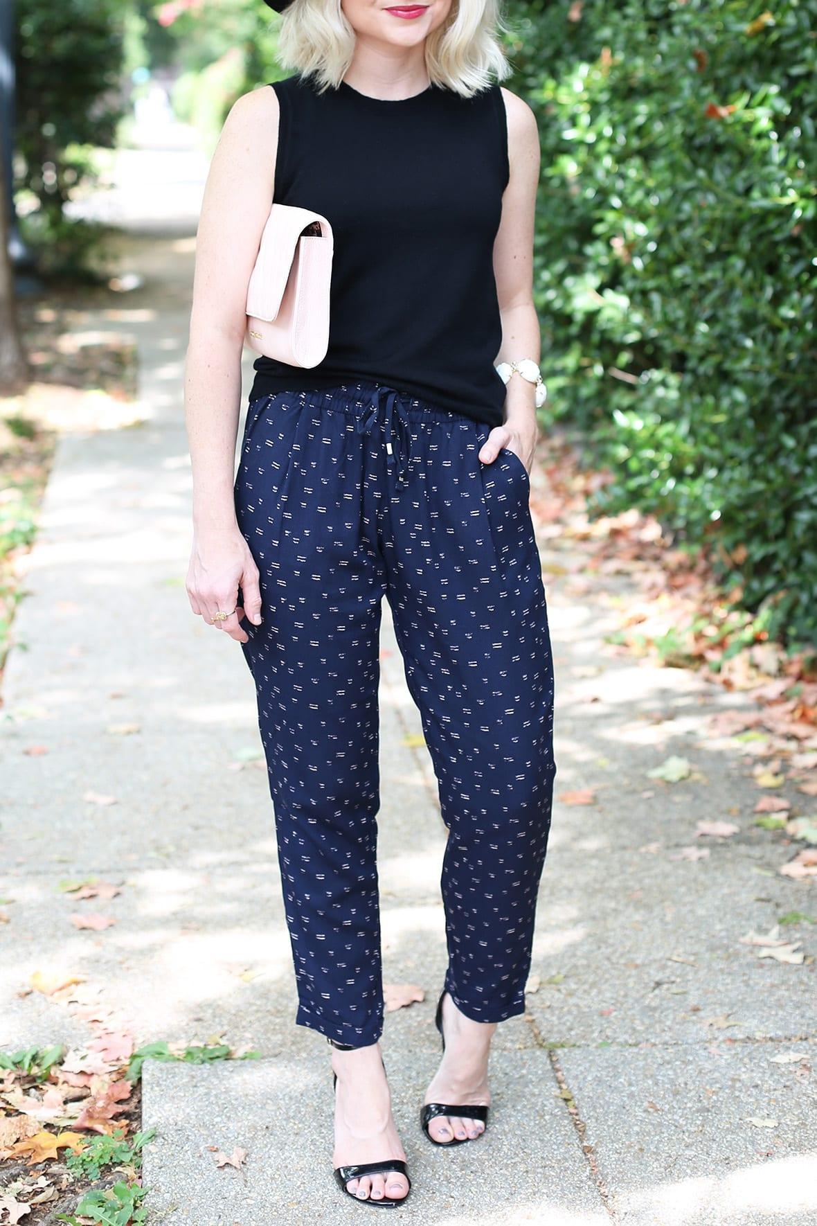 Poor Little It Girl - Printed Pants and Sleeveless Sweater @poorlilitgirl
