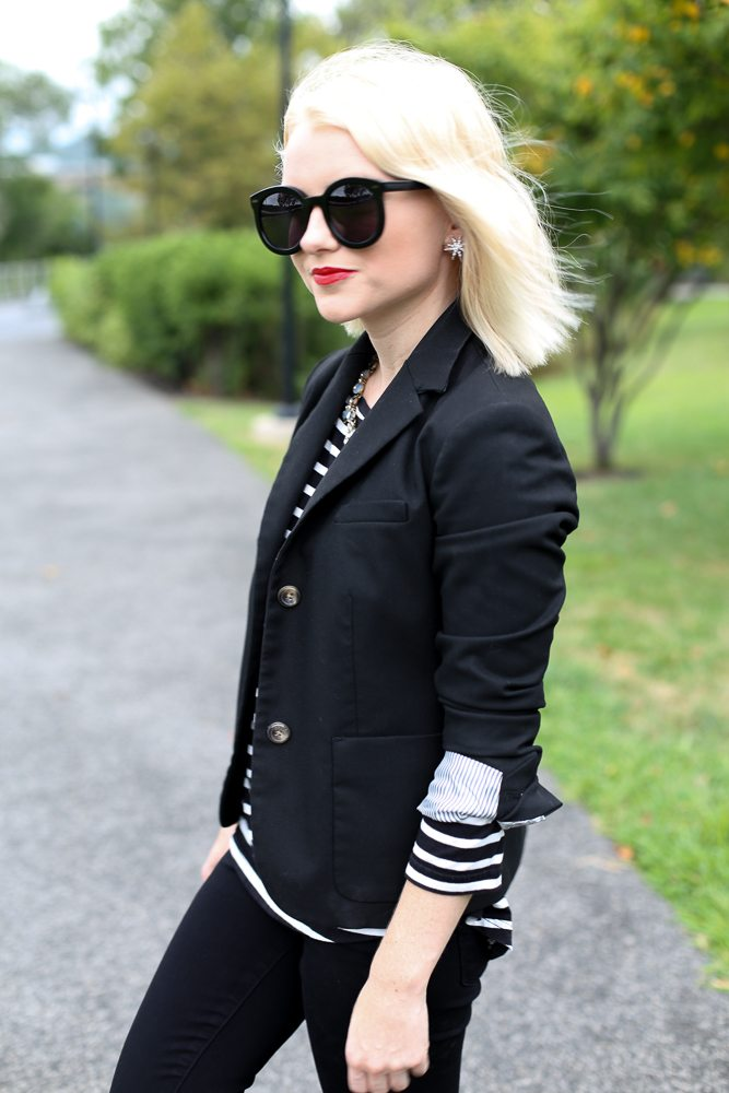 Poor Little It Girl - Black Blazer and Stripes - @poorlilitgirl