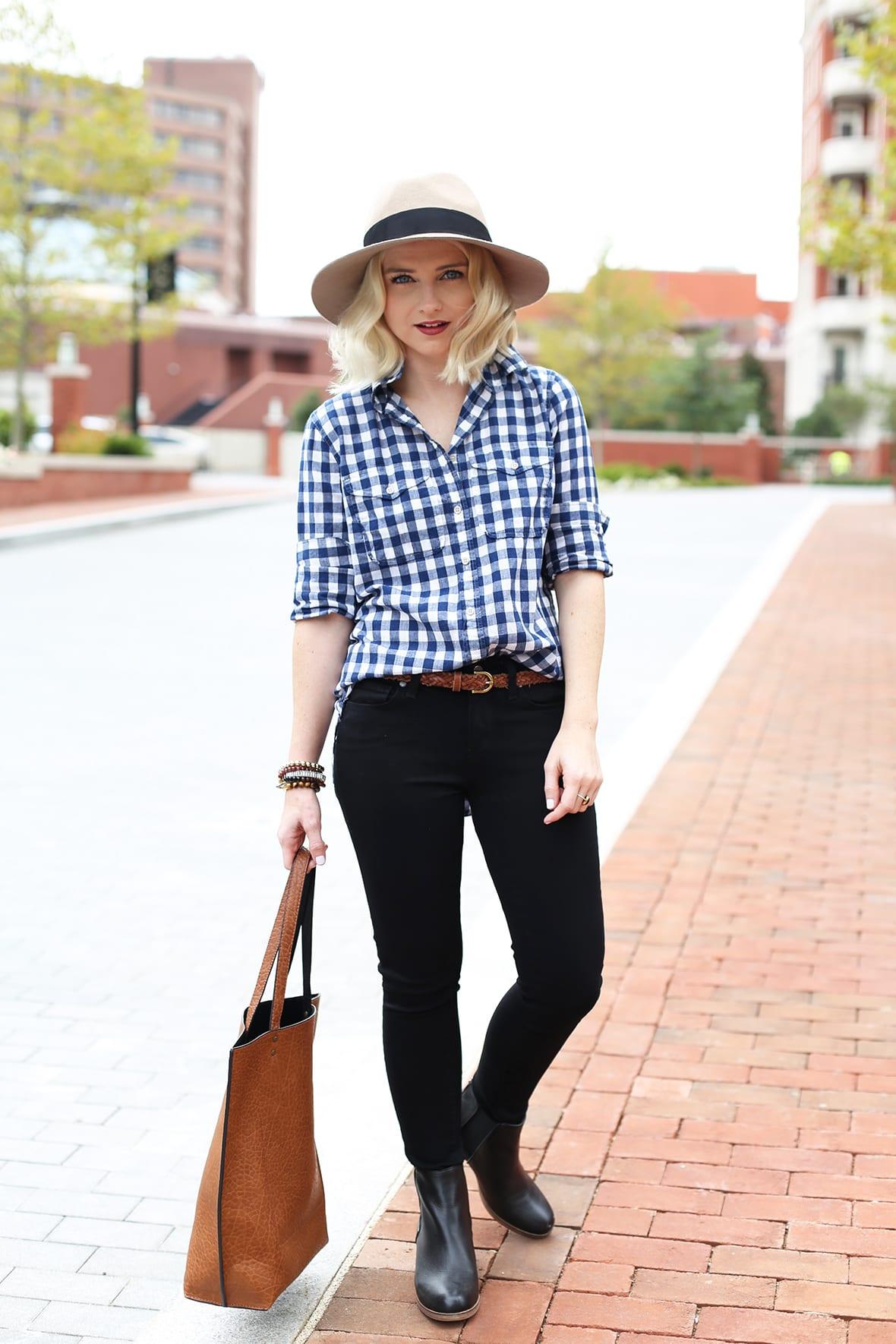 Poor Little It Girl - Blue Gingham Shirt and Black Jeans - @poorlilitgirl