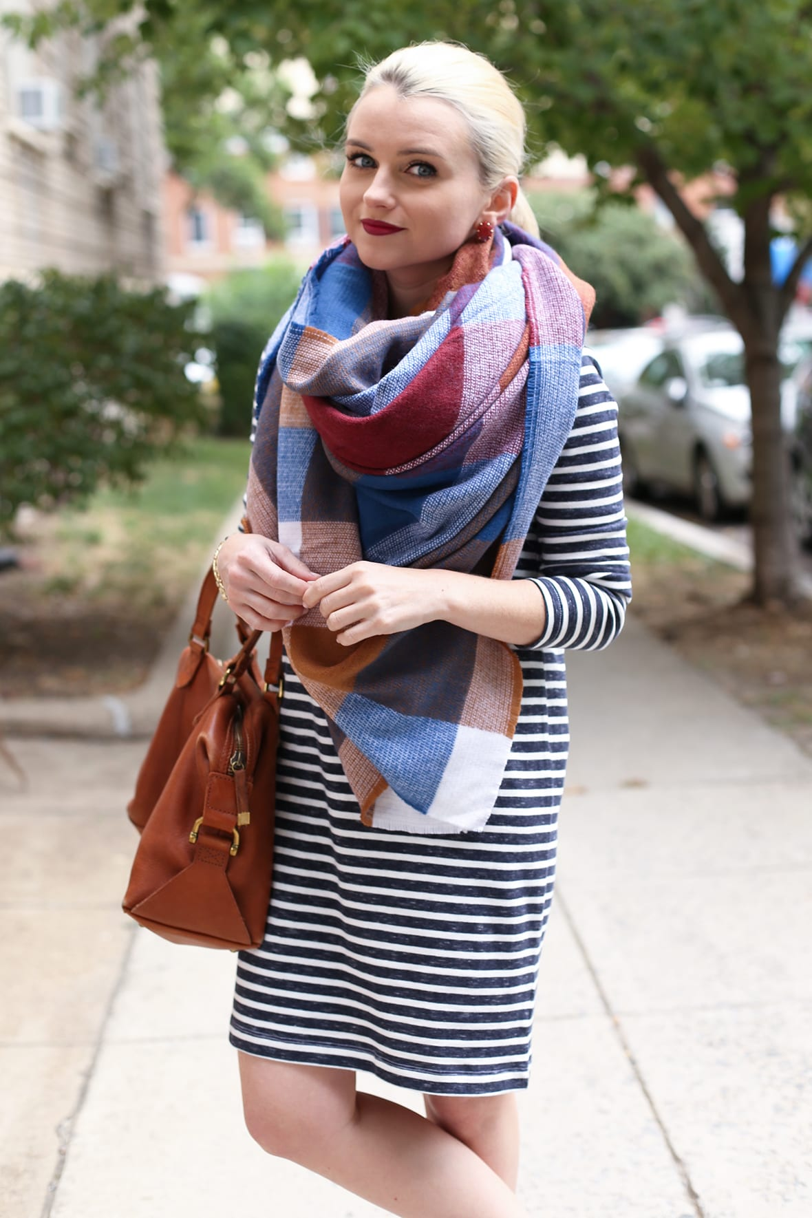 Poor Little It Girl - Striped Dress and Plaid Blanket Scarf