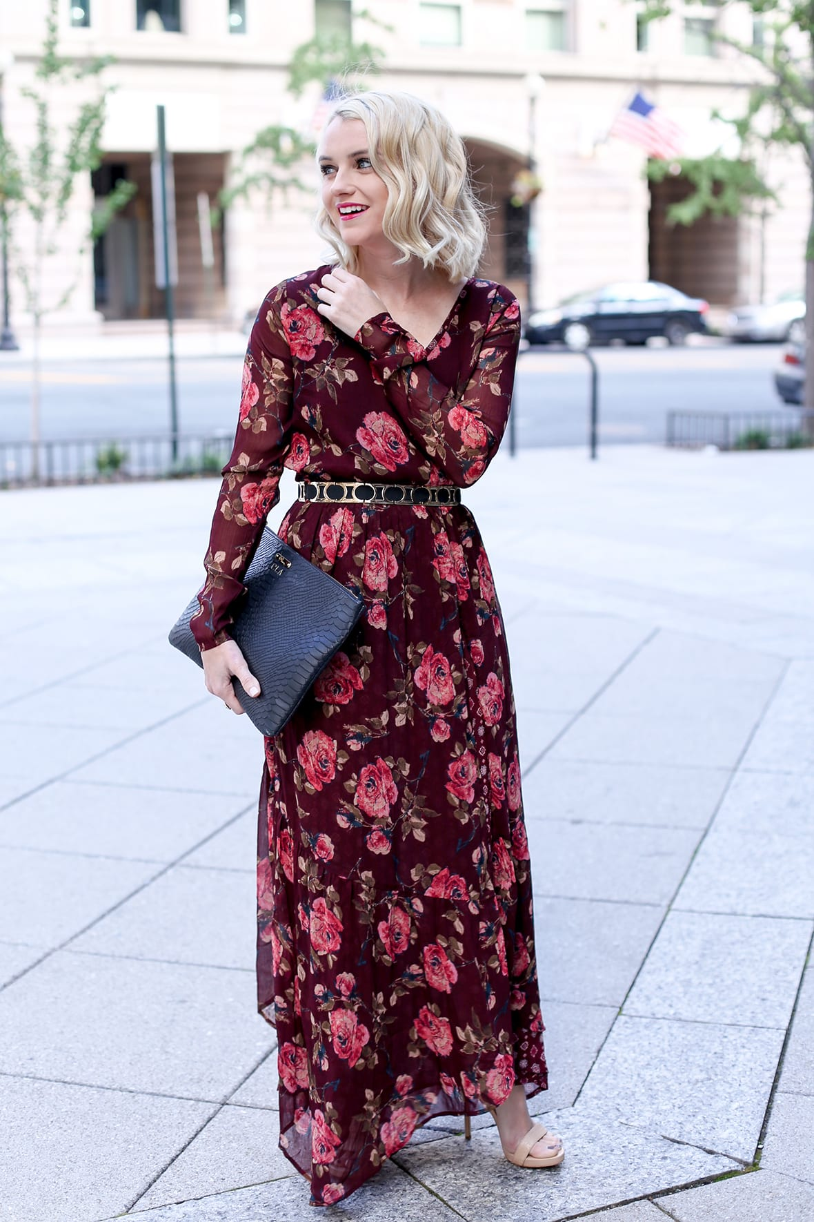 Fall Floral Long Sleeve Maxi Dress - Poor Little It Girl