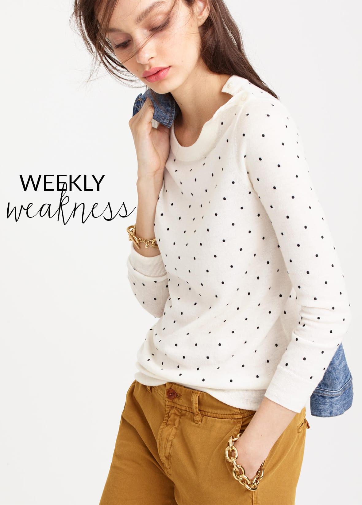 Poor Little It Girl Weekly Weakness - J.Crew Polka Dot Sweater - @poorlilitgirl