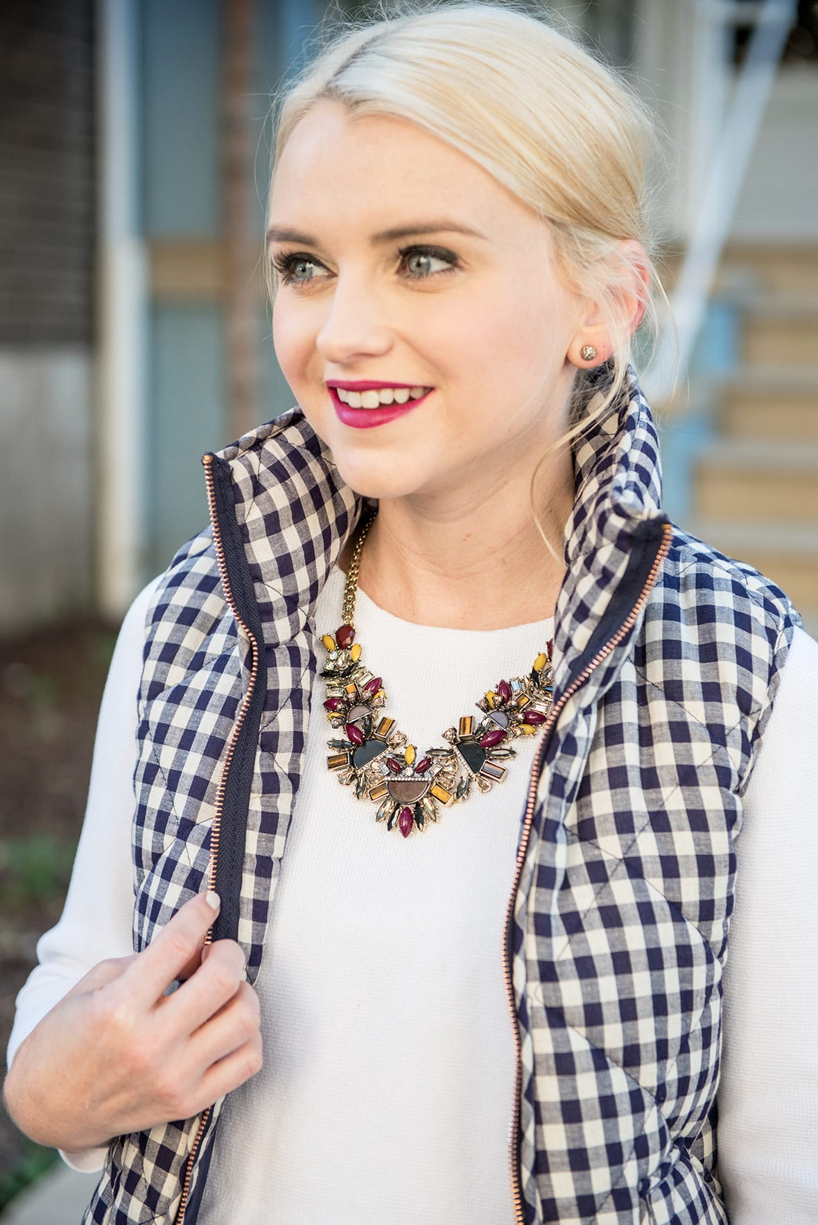 Poor Little It Girl - Gingham Puffer Vest and Dark Denim @poorlilitgirl