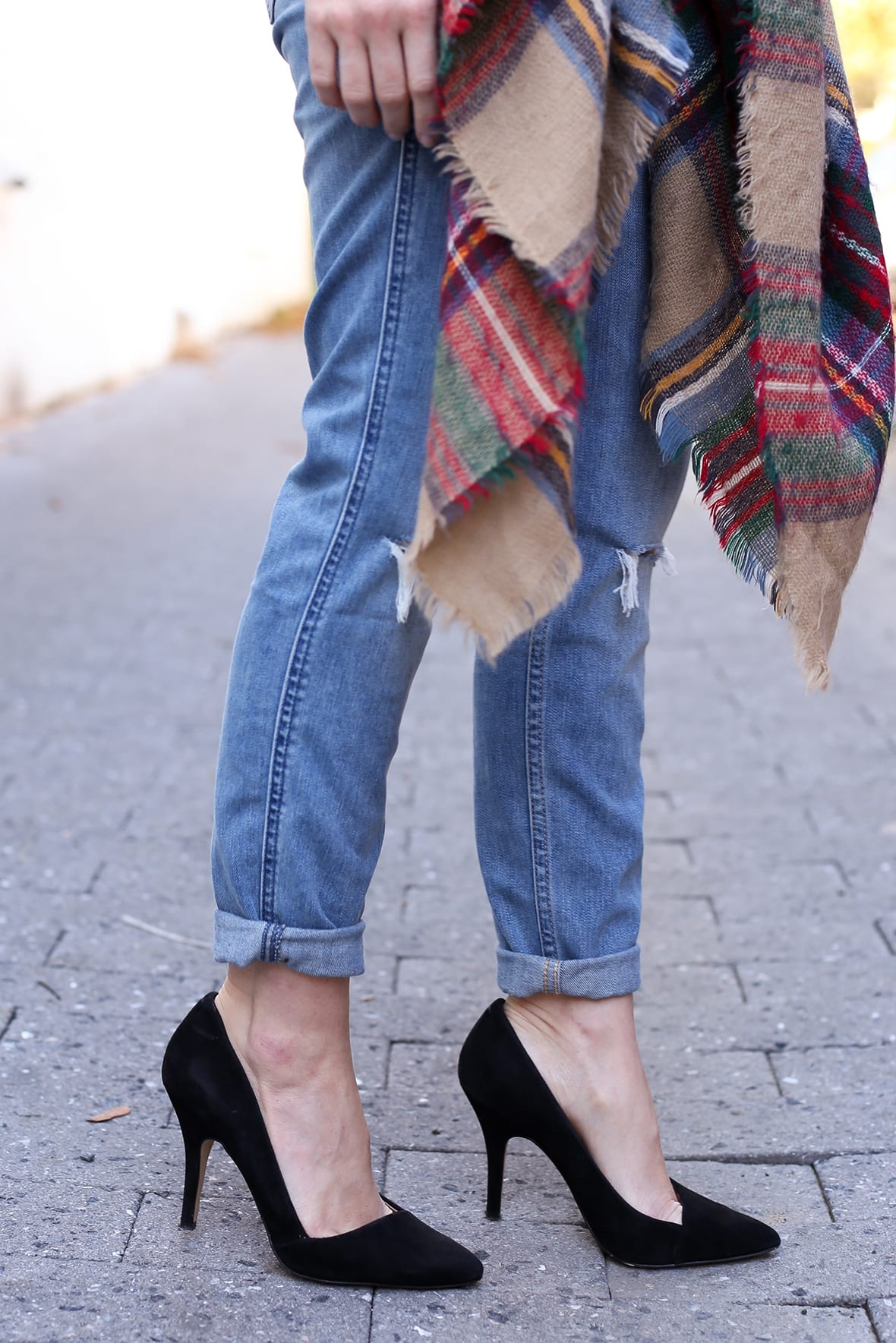 Poor Little It Girl - Striped Shirt and Plaid Scarf - @poorlilitgirl