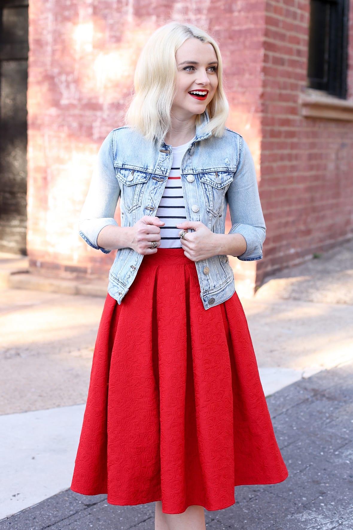 Poor Little It Girl - Red Midi Skirt and Flats - @poorlilitgirl