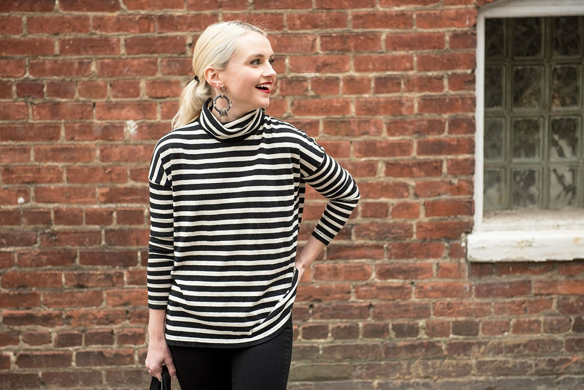 Poor Little It Girl - Black and White Striped Turtleneck - @poorlilitgirl