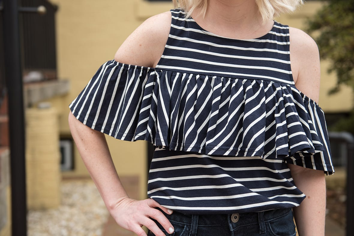 Poor Little It Girl - Striped Cold Shoulder Shirt - @poorlilitgirl