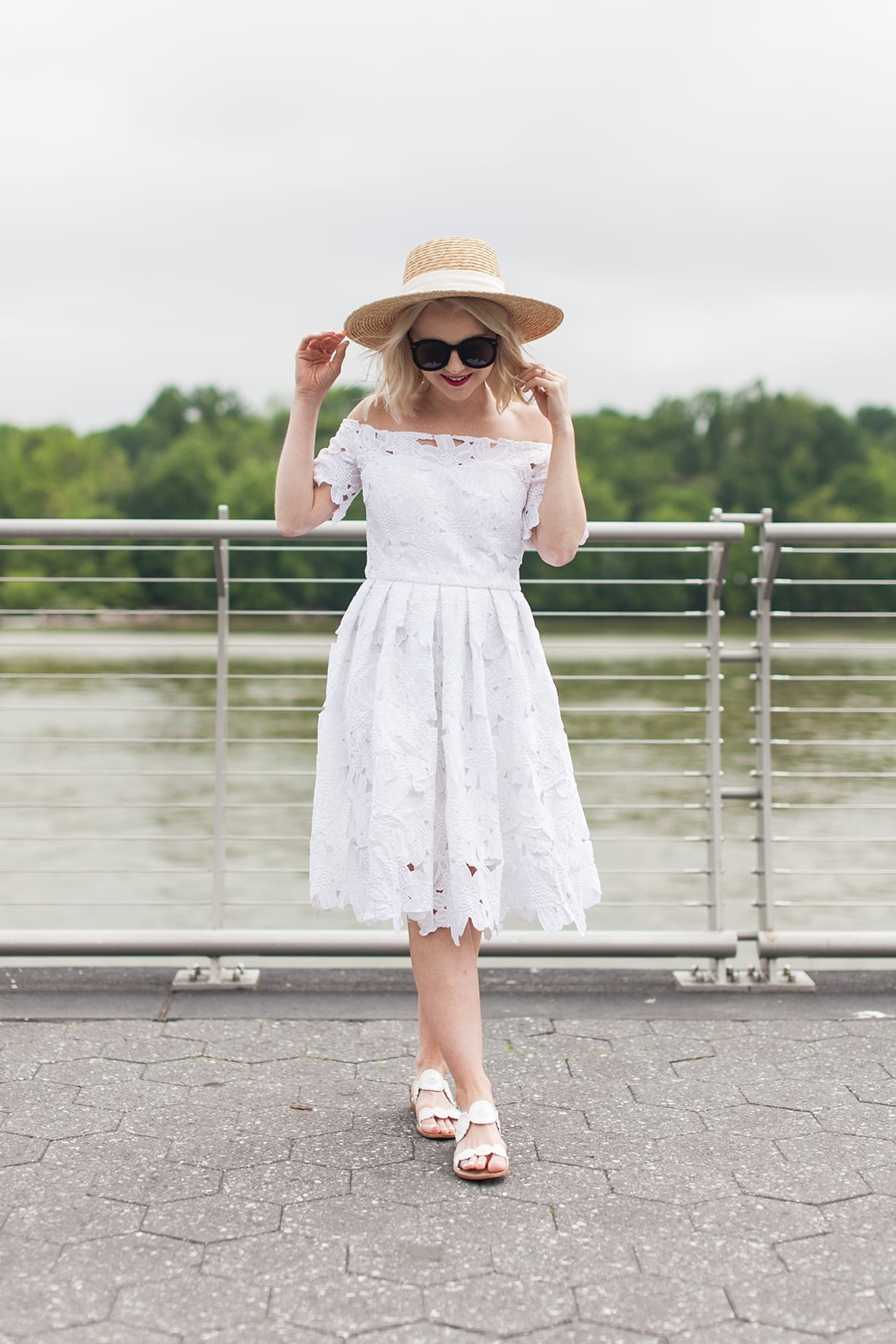 Poor Little It Girl - White Lace Off The Shoulder Dress - @poorlilitgirl