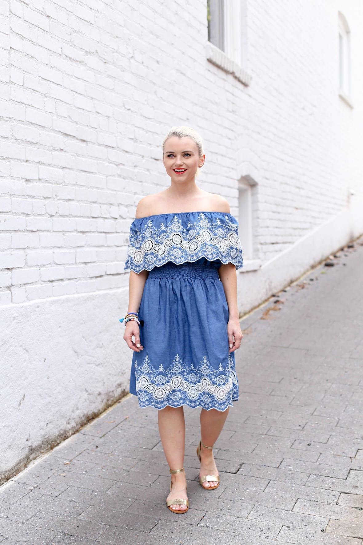 Poor Little It Girl - Embroidered Off The Shoulder Dress - @poorlilitgirl