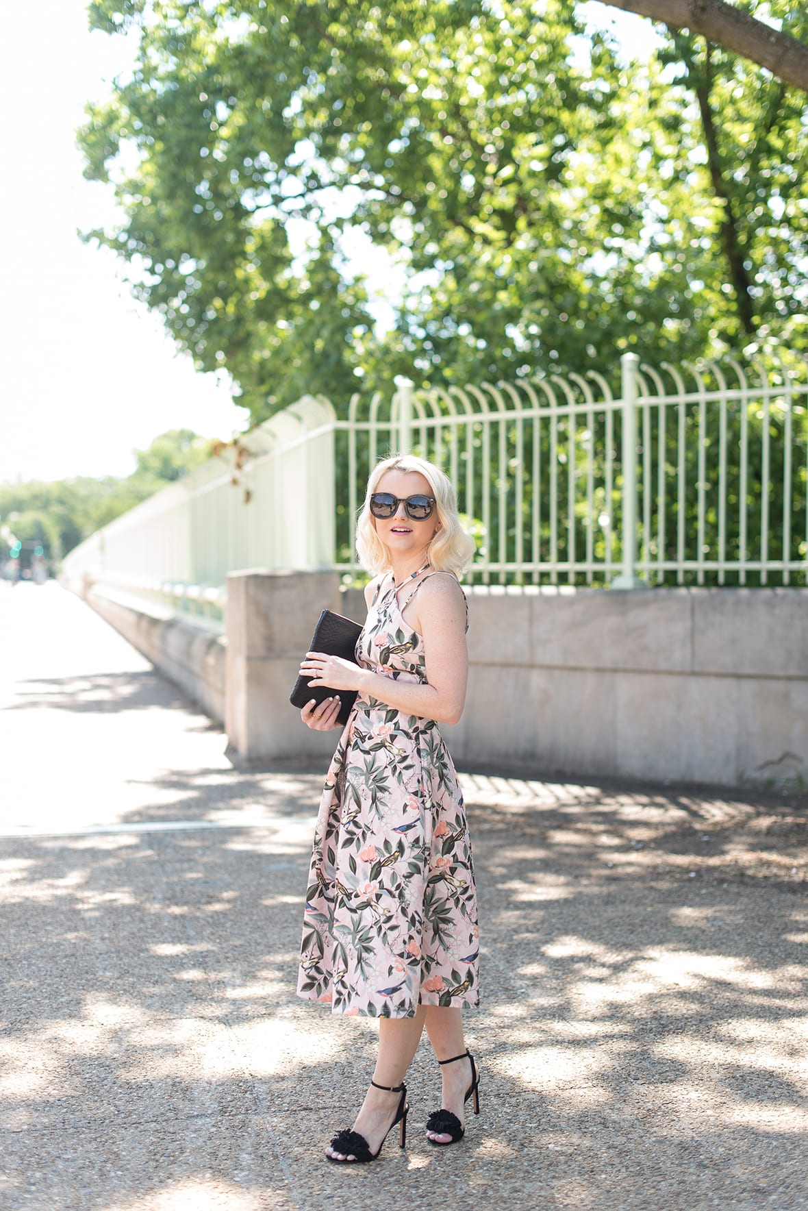 Poor Little It Girl - Bird and Floral Print Midi Dress - @poorlilitgirl