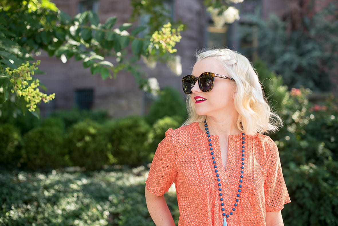 Poor Little It Girl - Orange Pintuck Top - @poorlilitgirl