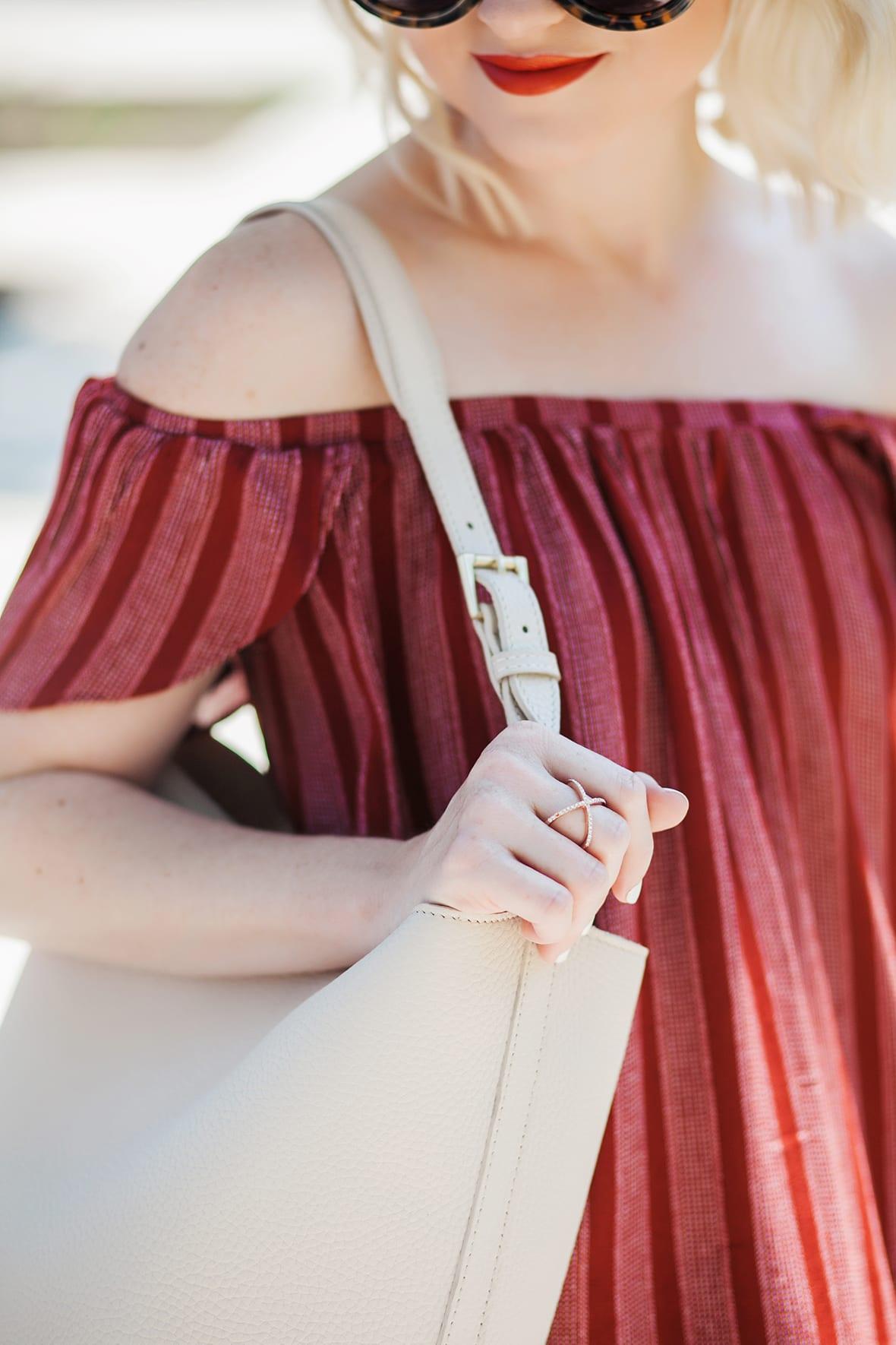 Poor Little It Girl - Stripe Off The Shoulder Red Dress - @poorlilitgirl
