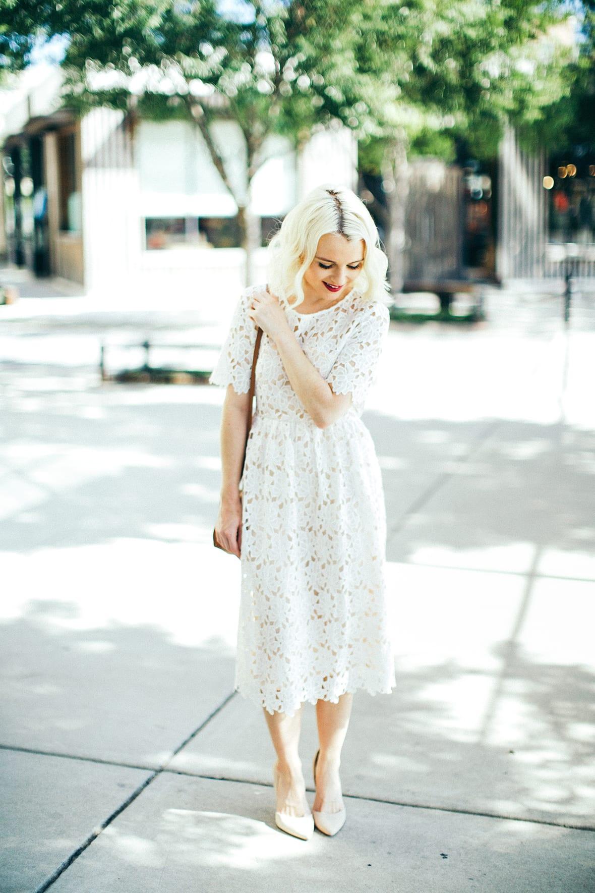 Poor Little It Girl - White Lace Midi Dress - @poorlilitgirl