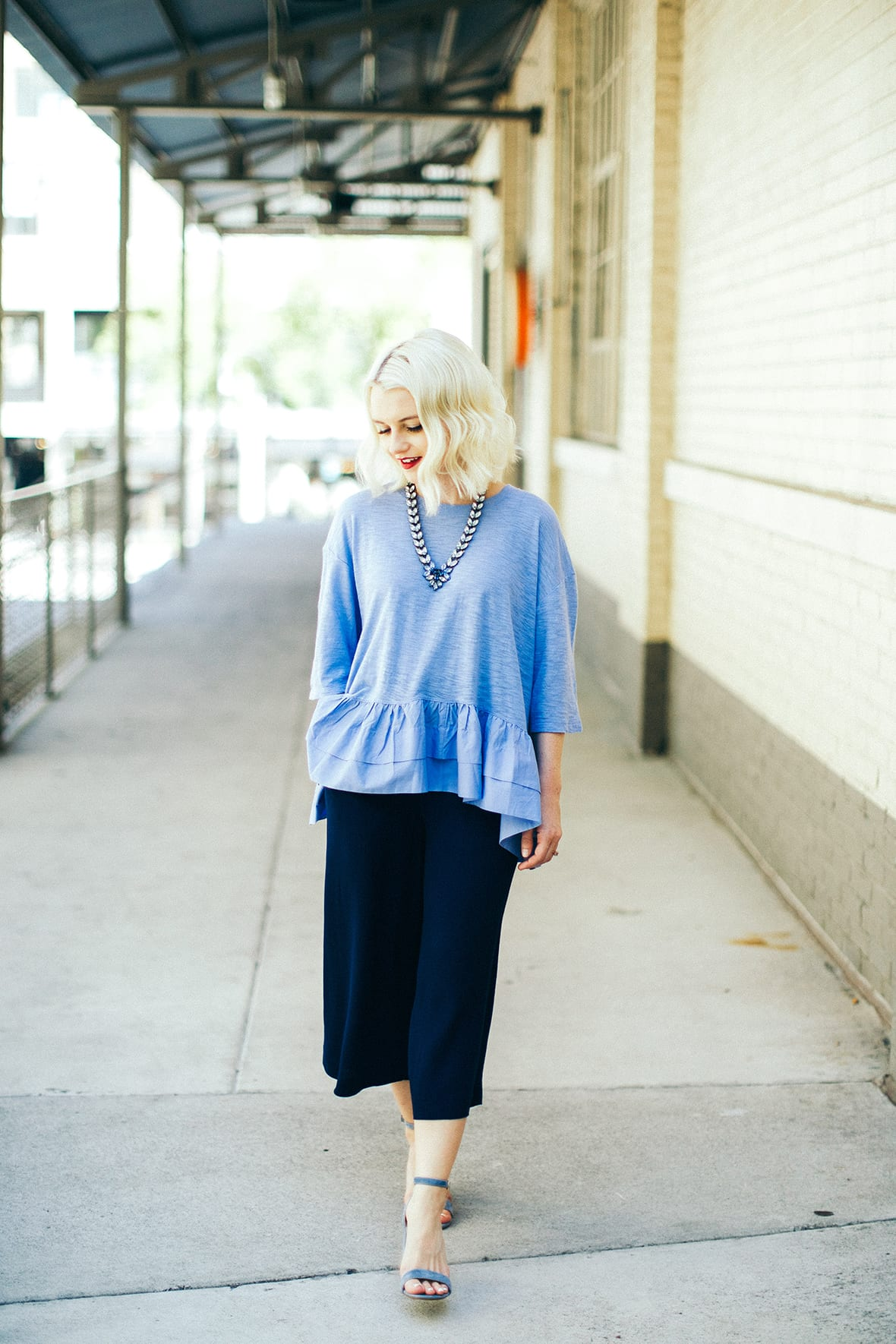 Poor Little It Girl - Anthropologie Blue Peplum Top - @poorlilitgirl