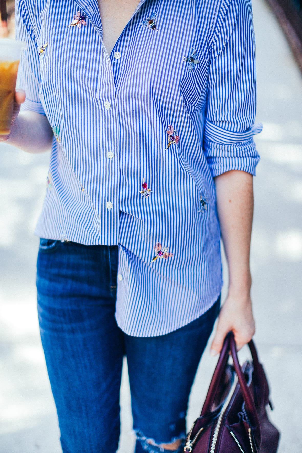 Poor Little It Girl - Bee Embellished Striped Shirt - @poorlilitgirl