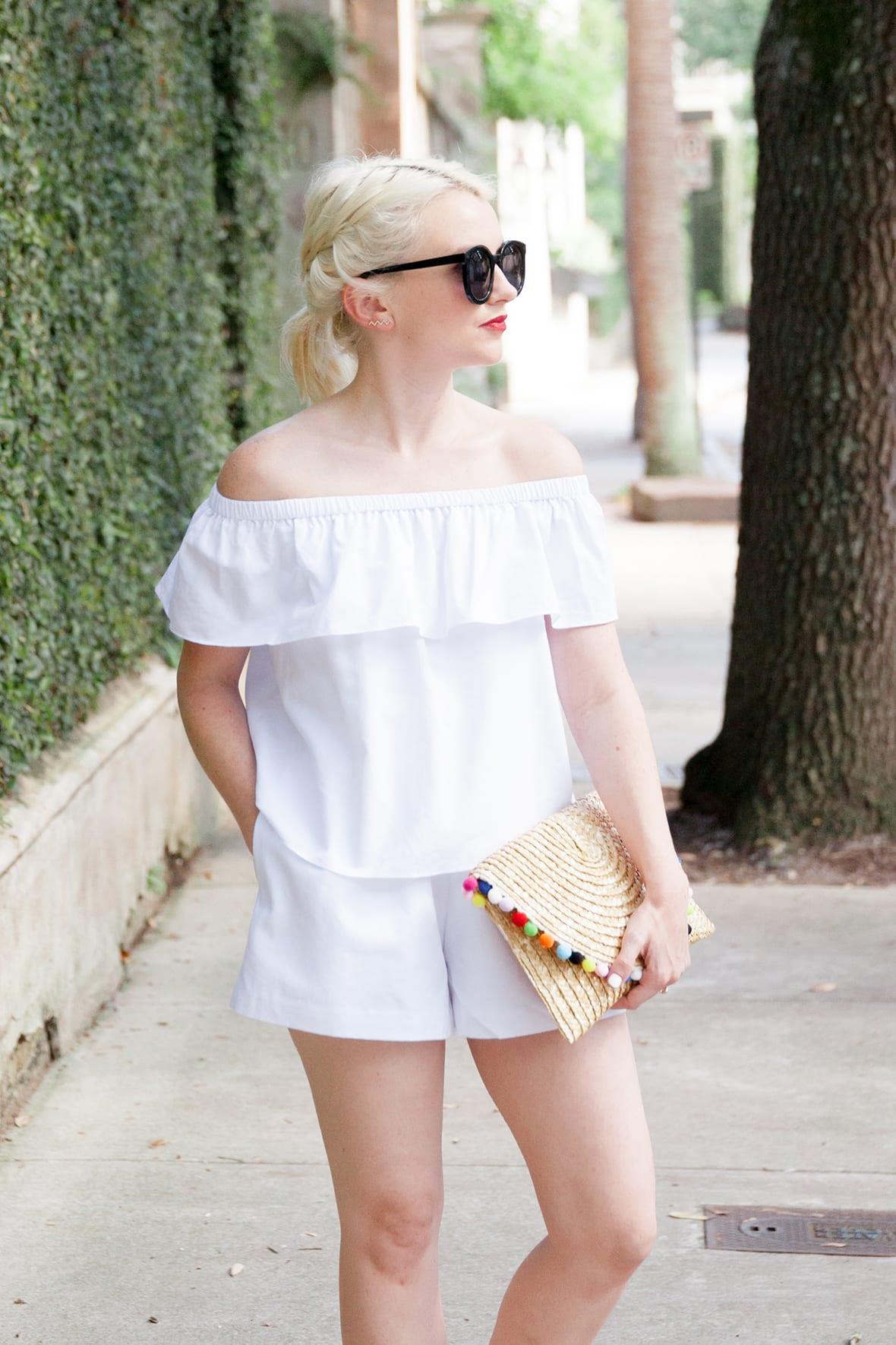 Poor Little It Girl - Off The Shoulder White Romper - @poorlilitgirl