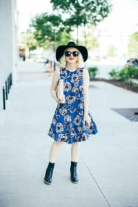 Poor Little It Girl - Black Booties and Blue Florals - @poorlilitgirl