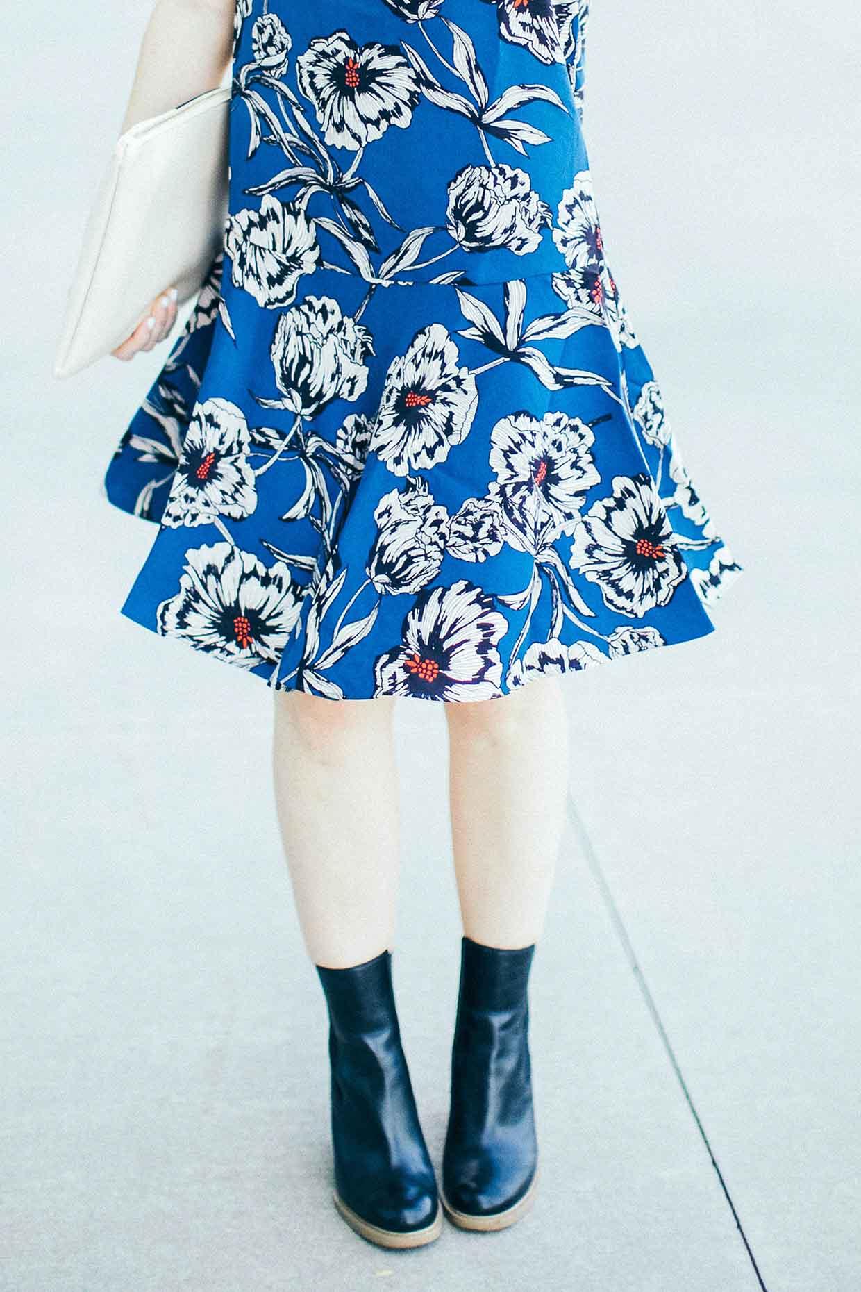 Poor Little It Girl - Black Booties and Blue Florals - @poorlilitgirl