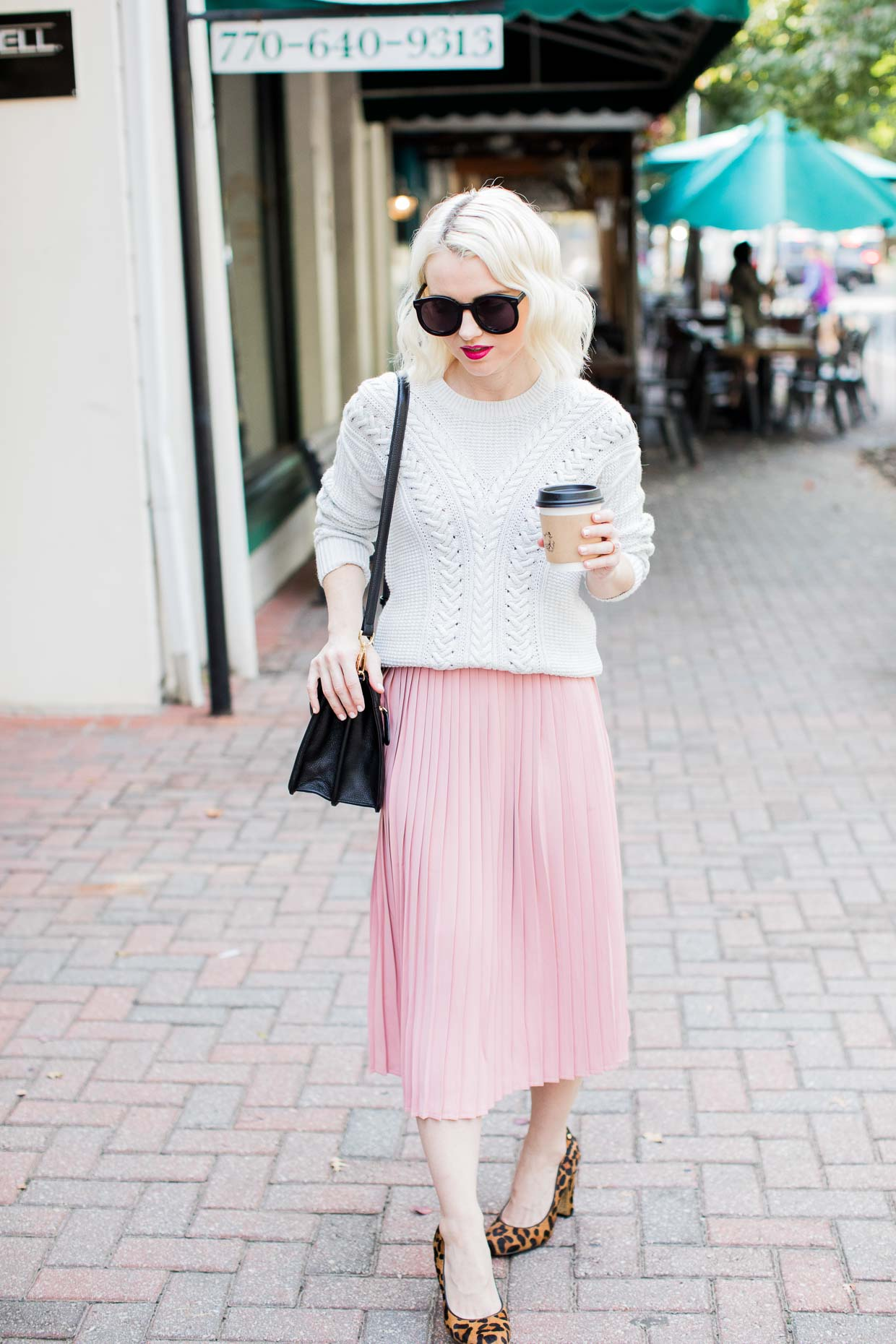 Buy Here Pay Here Atlanta >> Pink Pleated Midi Skirt Styling For Fall - Poor Little It Girl