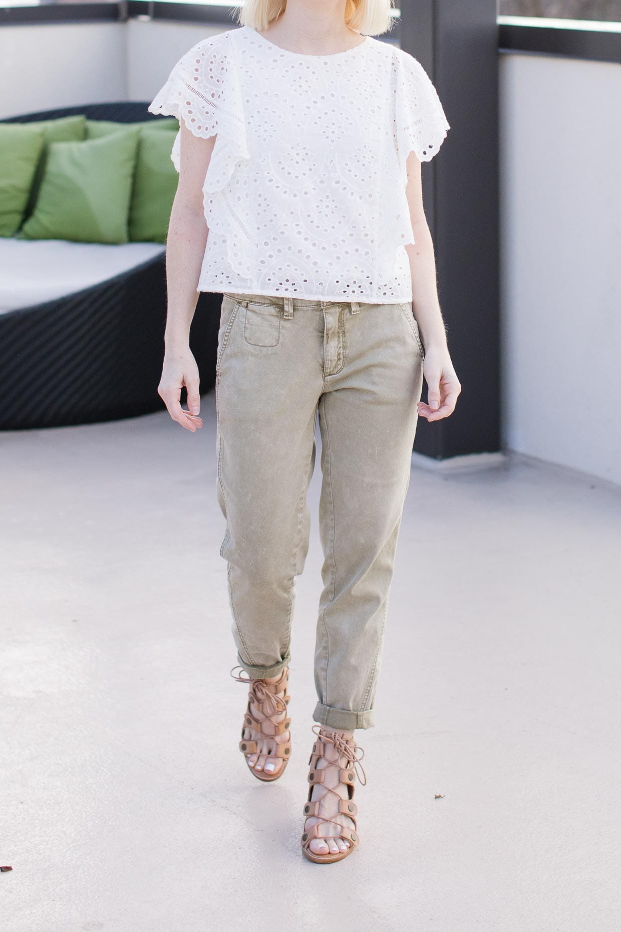 Anthropologie Green Relaxed Chino Pants Poor Little It Girl