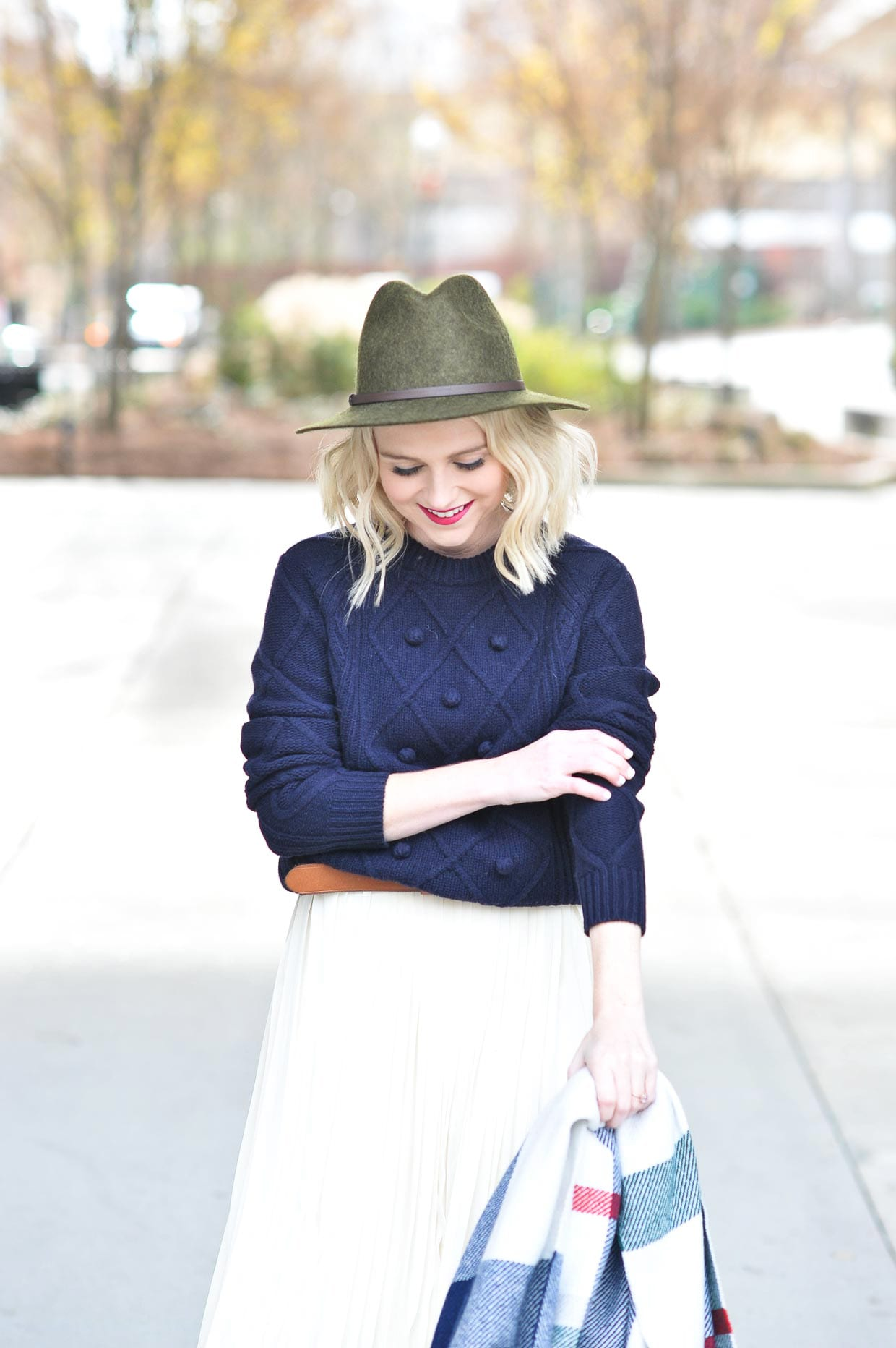 How To Style A Navy Sweater Over A Dress - Poor Little It Girl