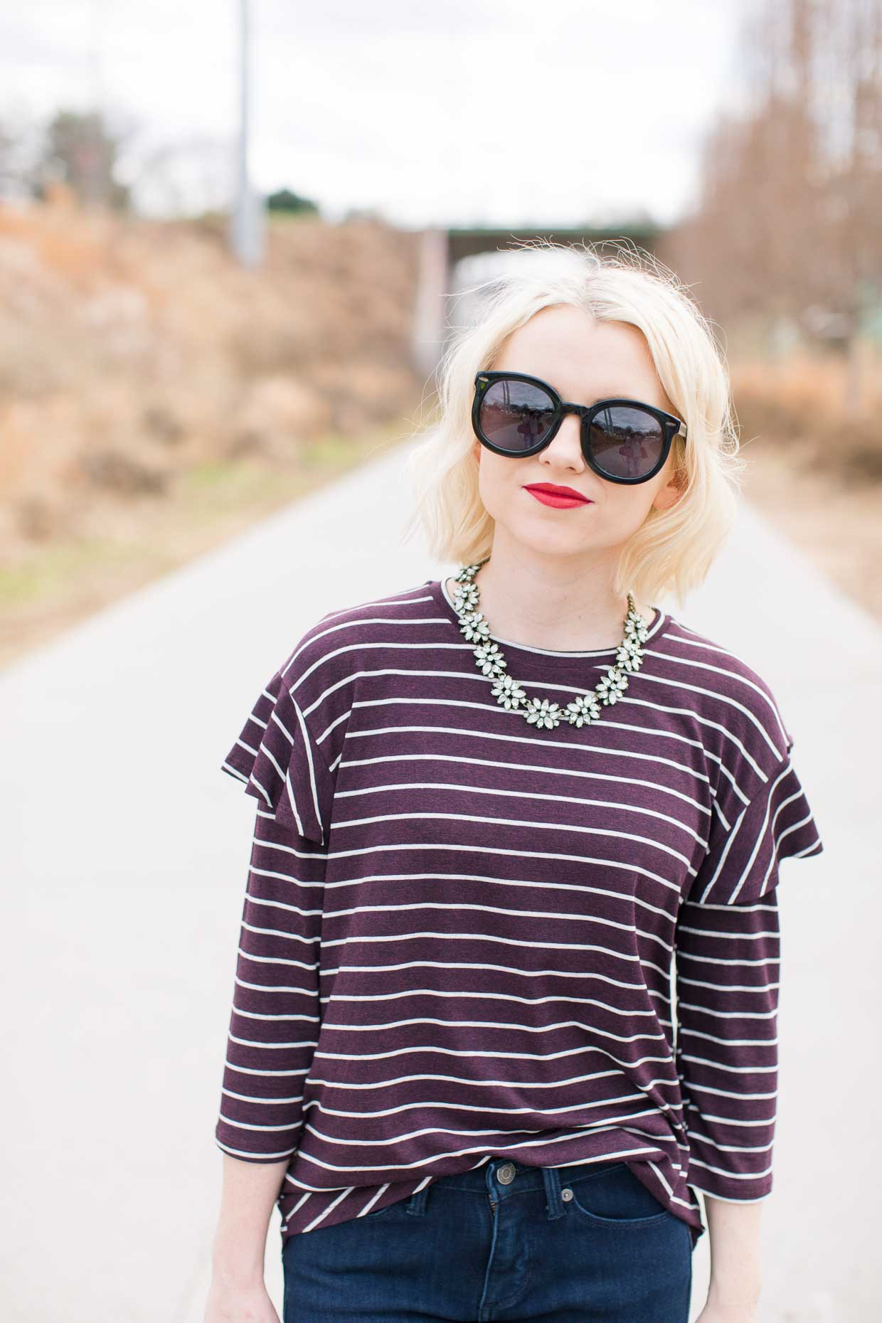 Anthropologie Striped Ruffled Sleeve Top - Poor Little It Girl