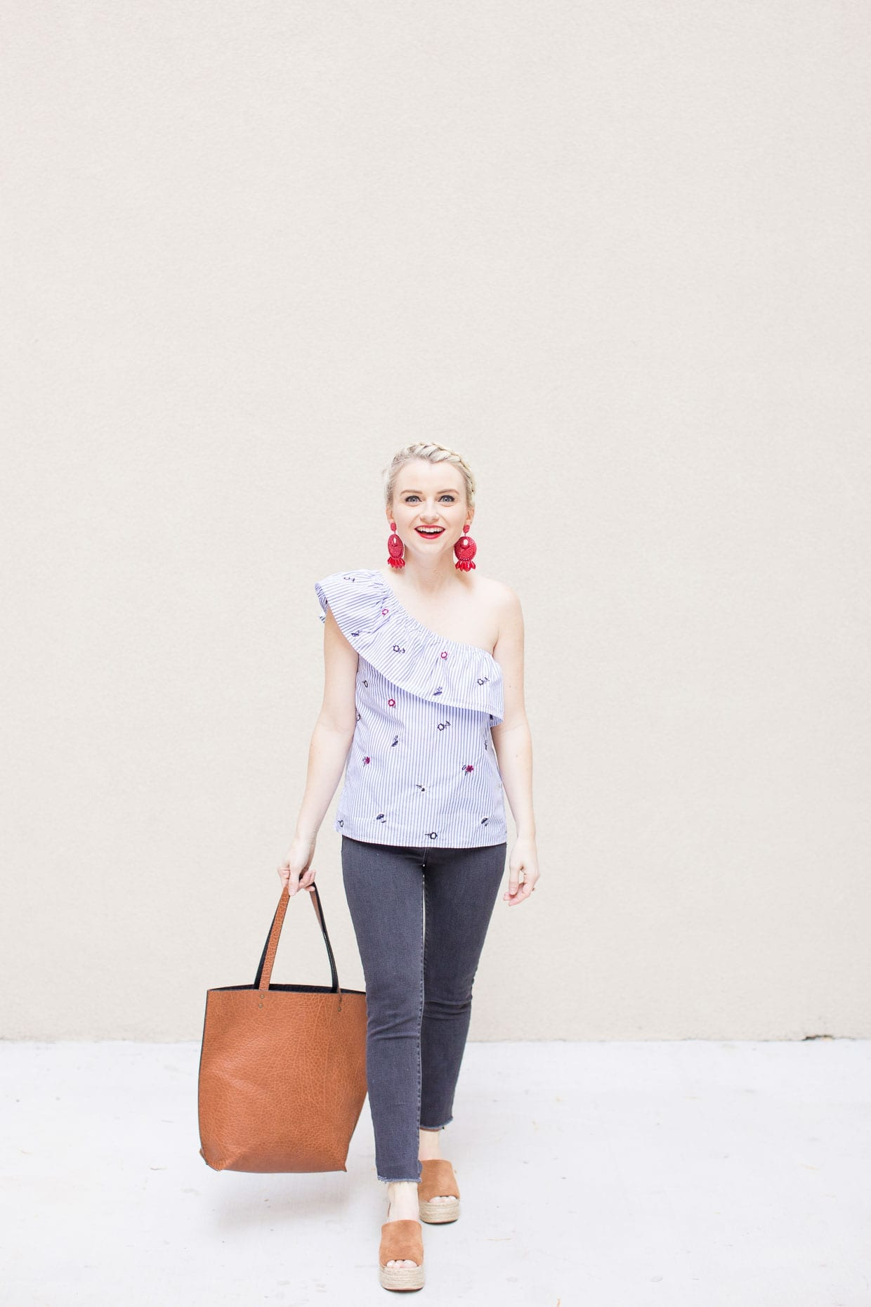 How To Style A One Shoulder Ruffled Top - Poor Little It Girl