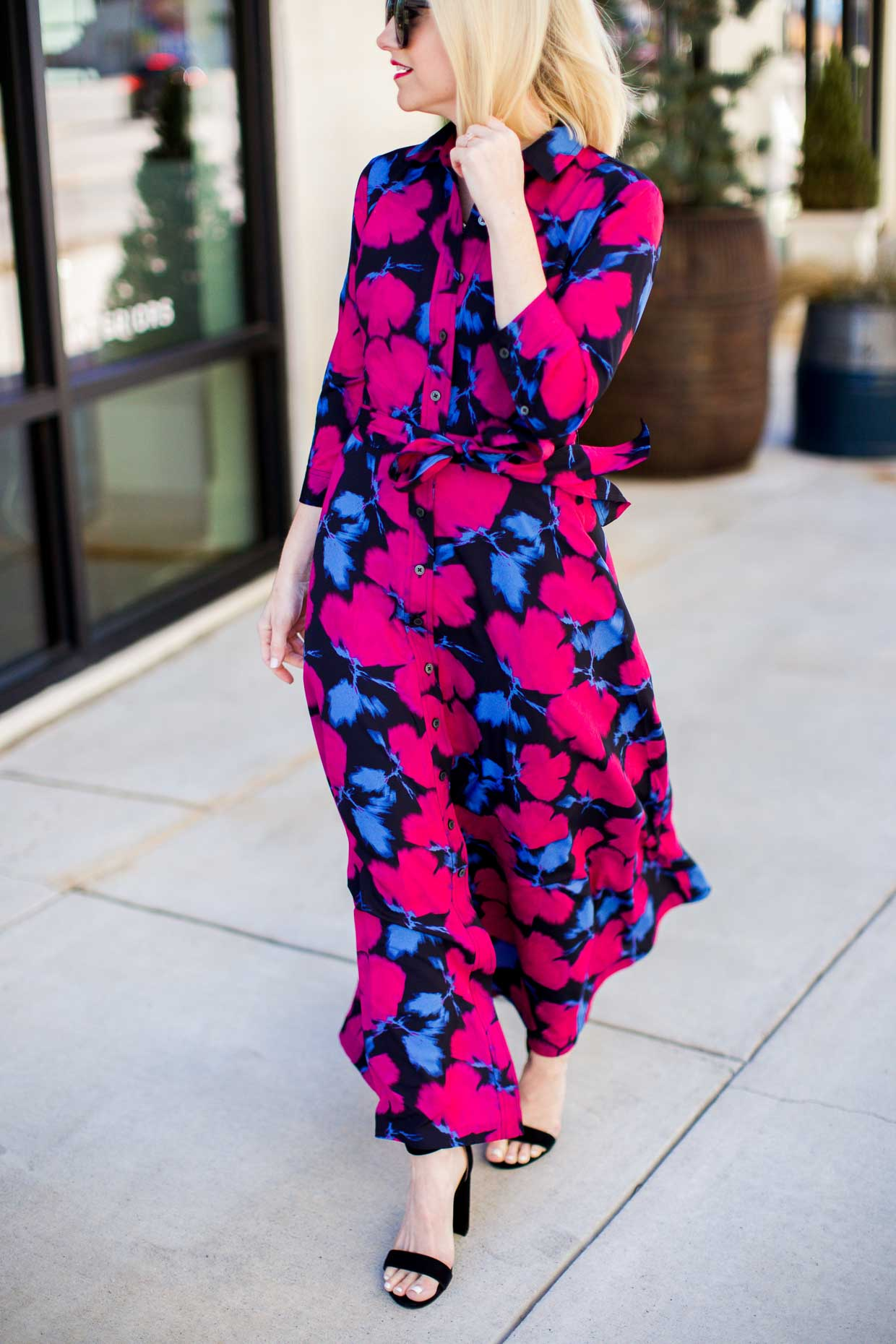 How To Style A Pink Floral Maxi Dress - Poor Little It Girl