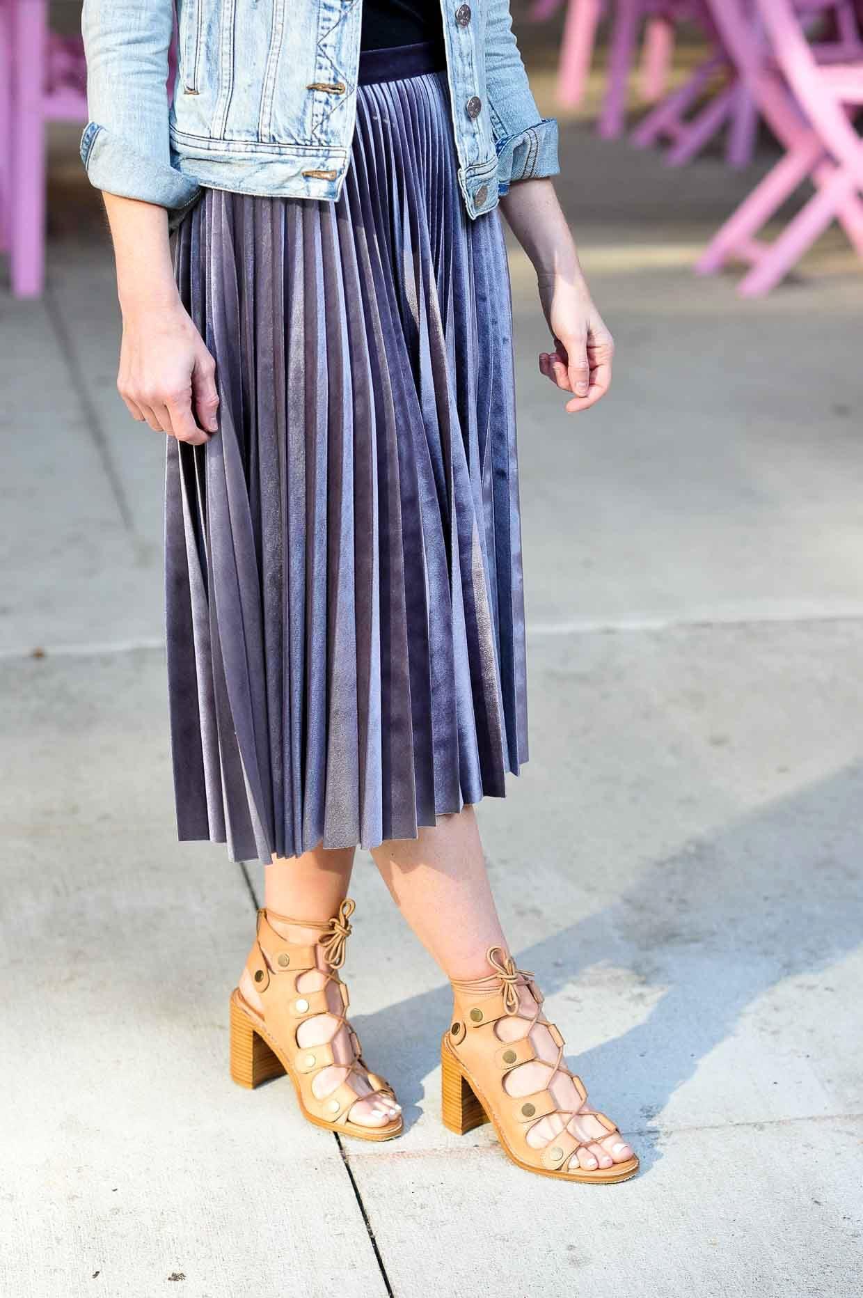 Topshop Metallic Pleated Velvet Midi Skirt - Poor Little It Girl