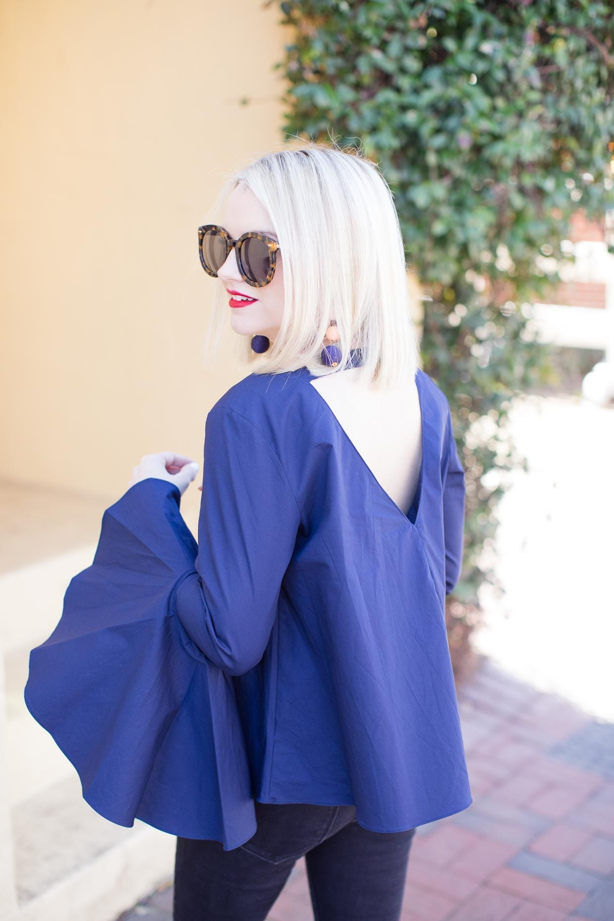 Navy Bell Sleeve Top - Poor Little It Girl
