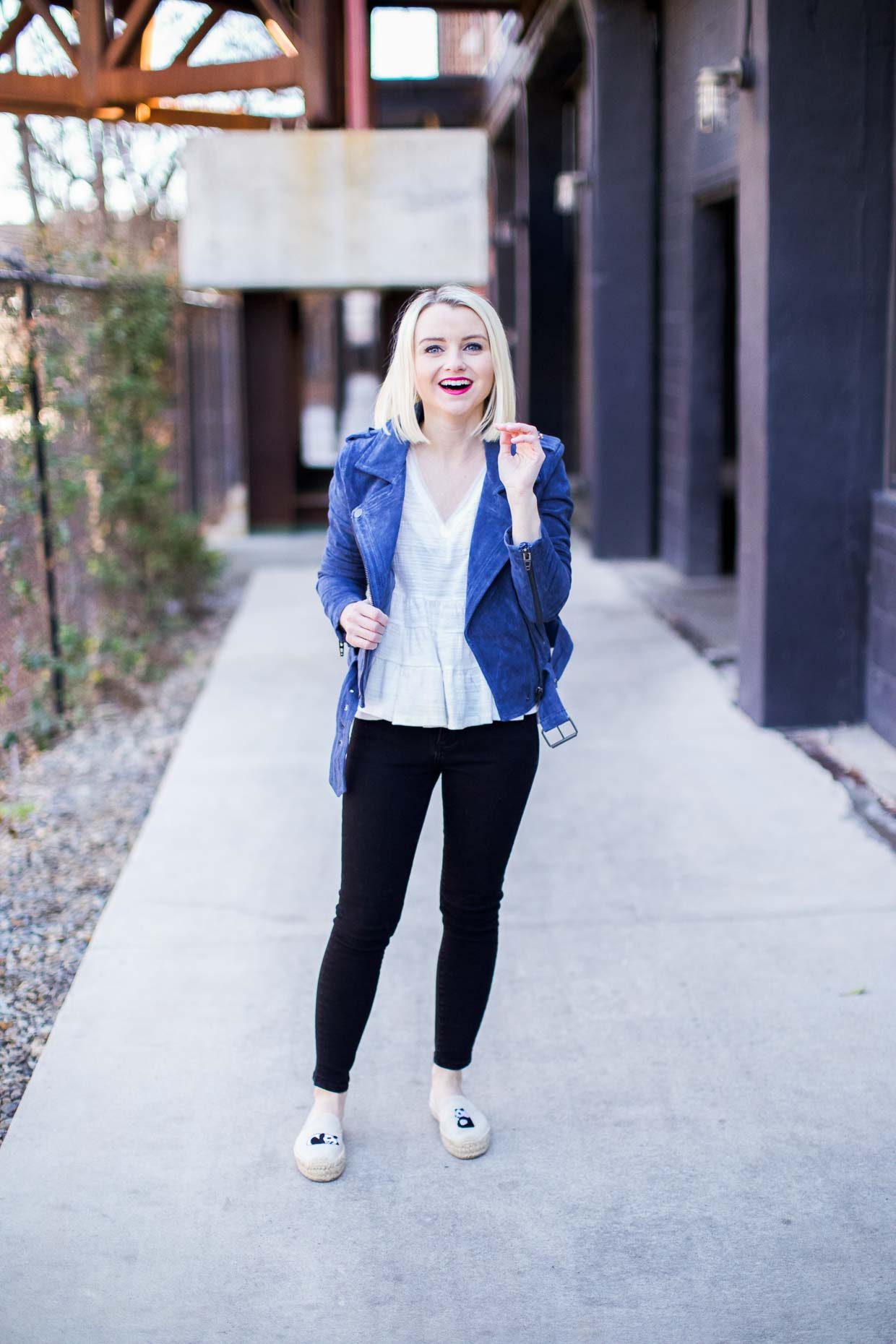 Blue Suede Moto Jacket - Poor Little It Girl