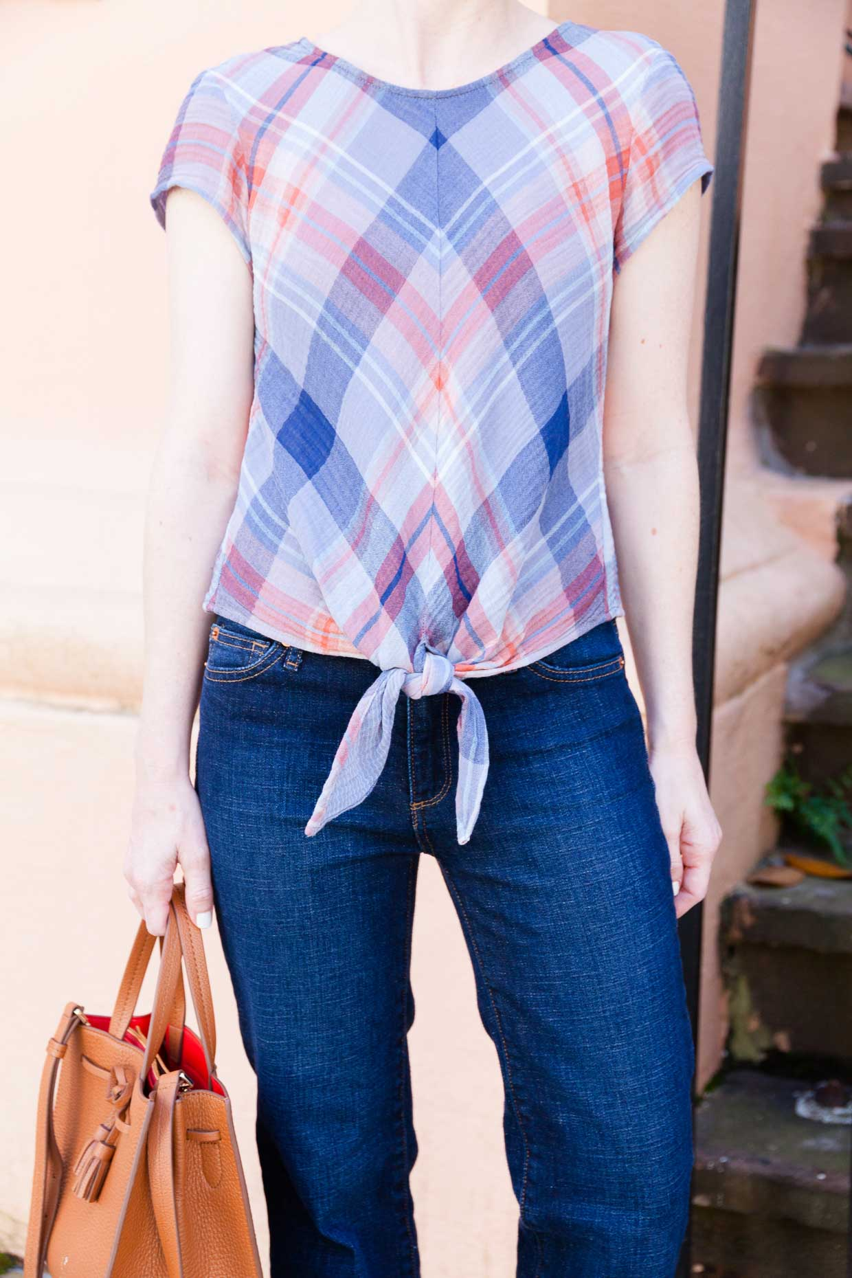 Plaid Tie Front Blouse - Spring Styling - Poor Little It Girl