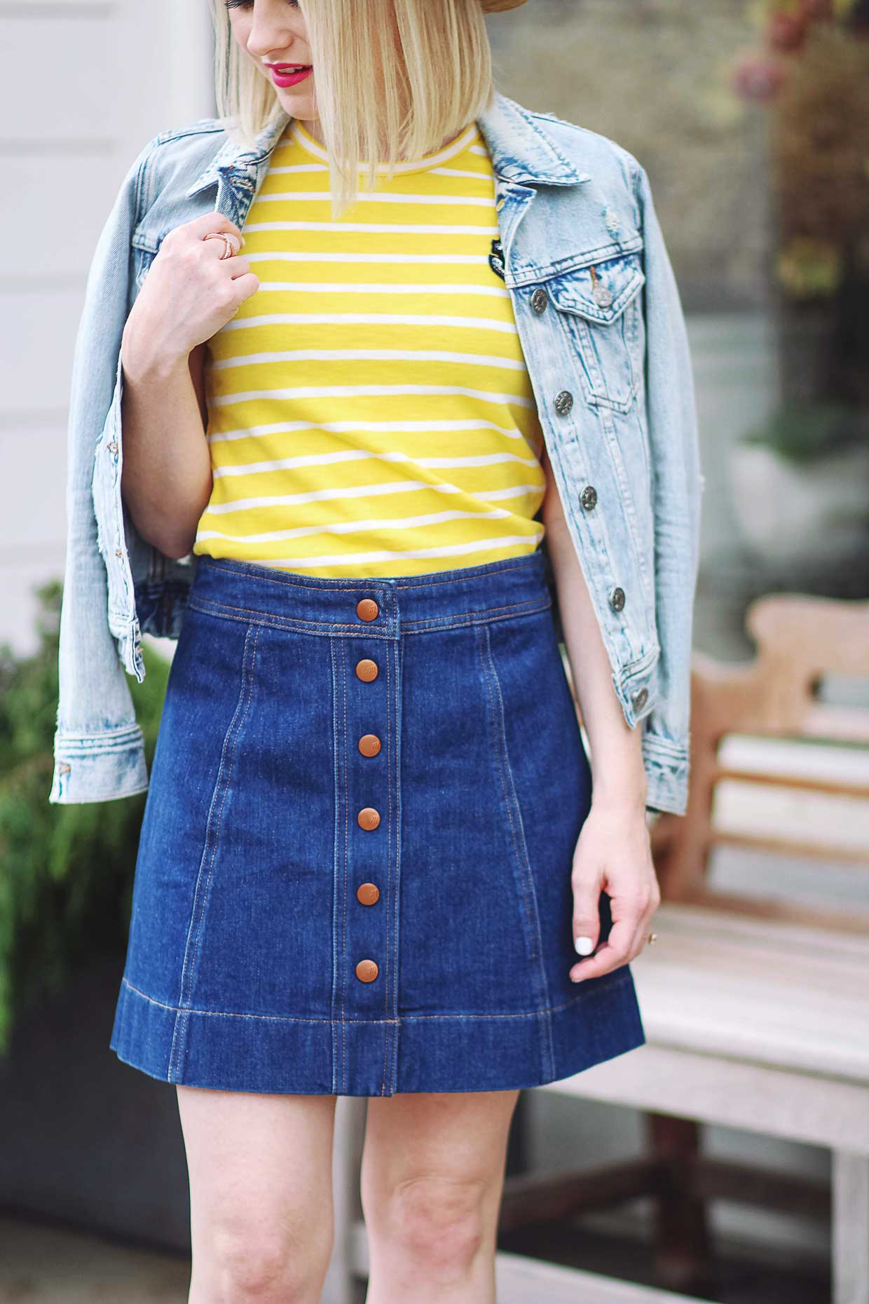 how to style a madewell snap jean skirt poor little it girl