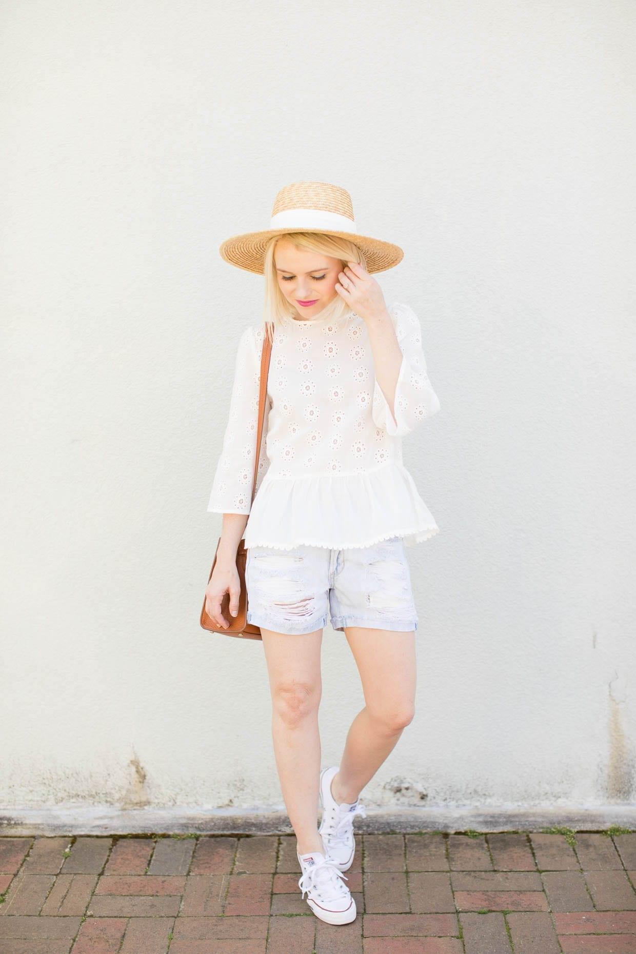 White Peplum Bell Sleeve Eyelet Top - Poor Little It Girl