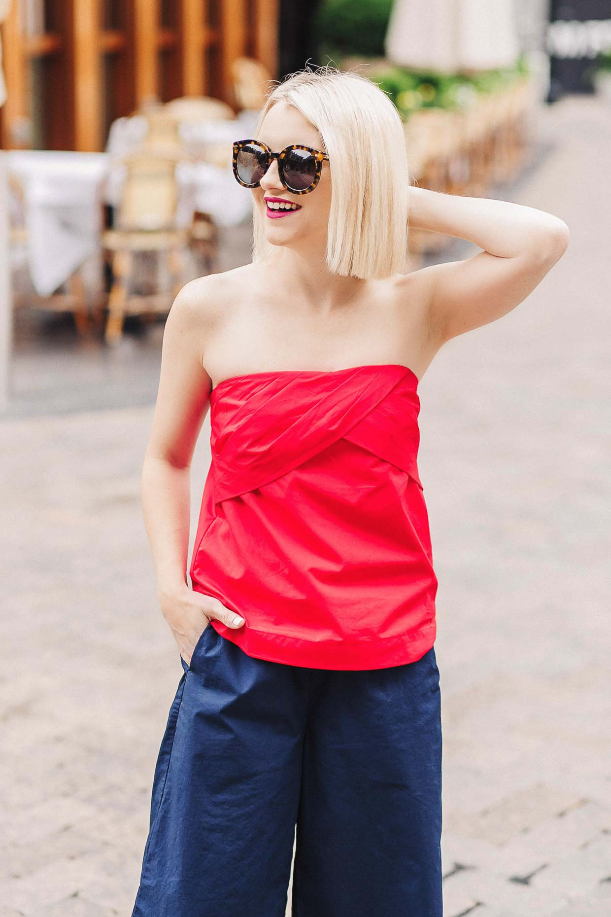 How To Style A Red Strapless Top For Summer - Poor Little It Girl