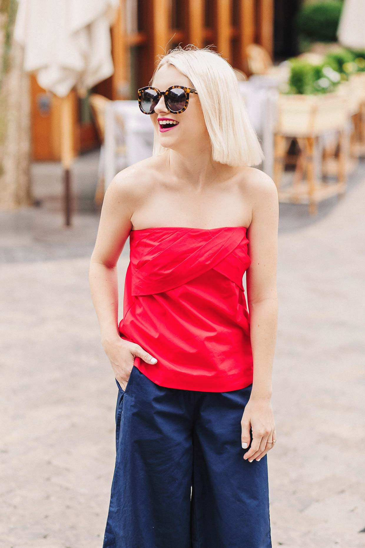 How To Style A Red Strapless Top For Summer - Poor Little ...