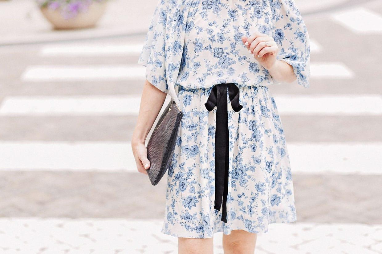 Blue Floral Flutter Sleeve Dress with Black Ribbon - Poor Little It Girl