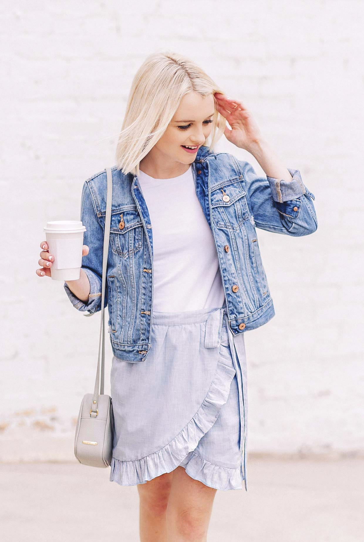 How To Style A Blue Ruffled Wrap Mini Skirt - Poor Little It Girl