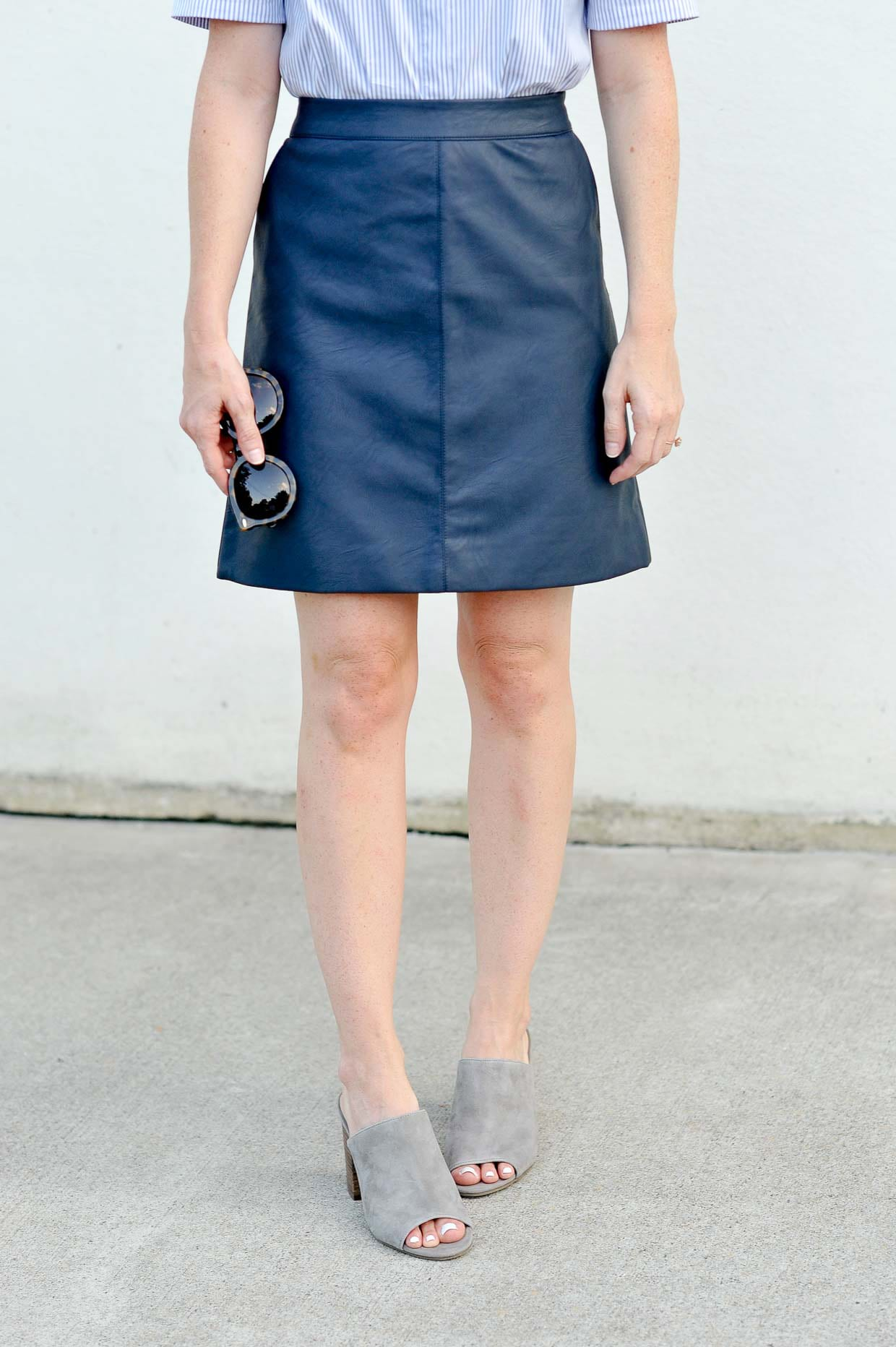To Style A Navy Faux Leather Skirt - Poor Little It Girl